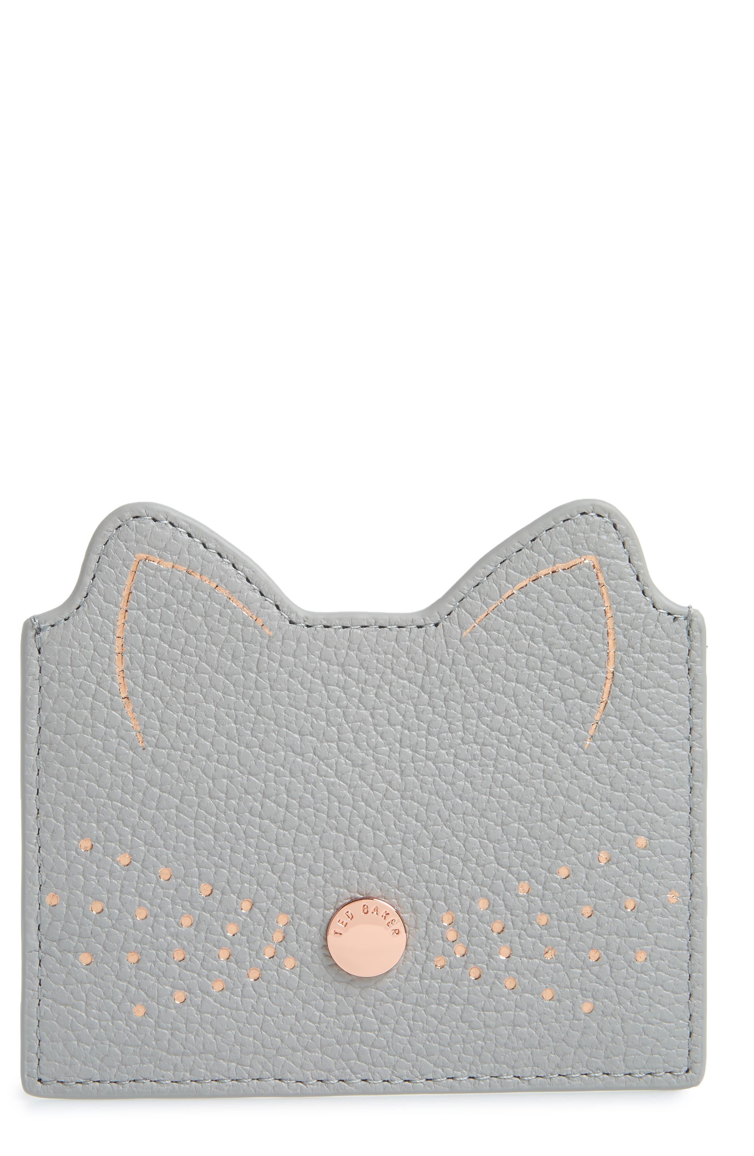 Anatoni Cat Ear Card Holder,                             Main thumbnail 1, color,                             GREY