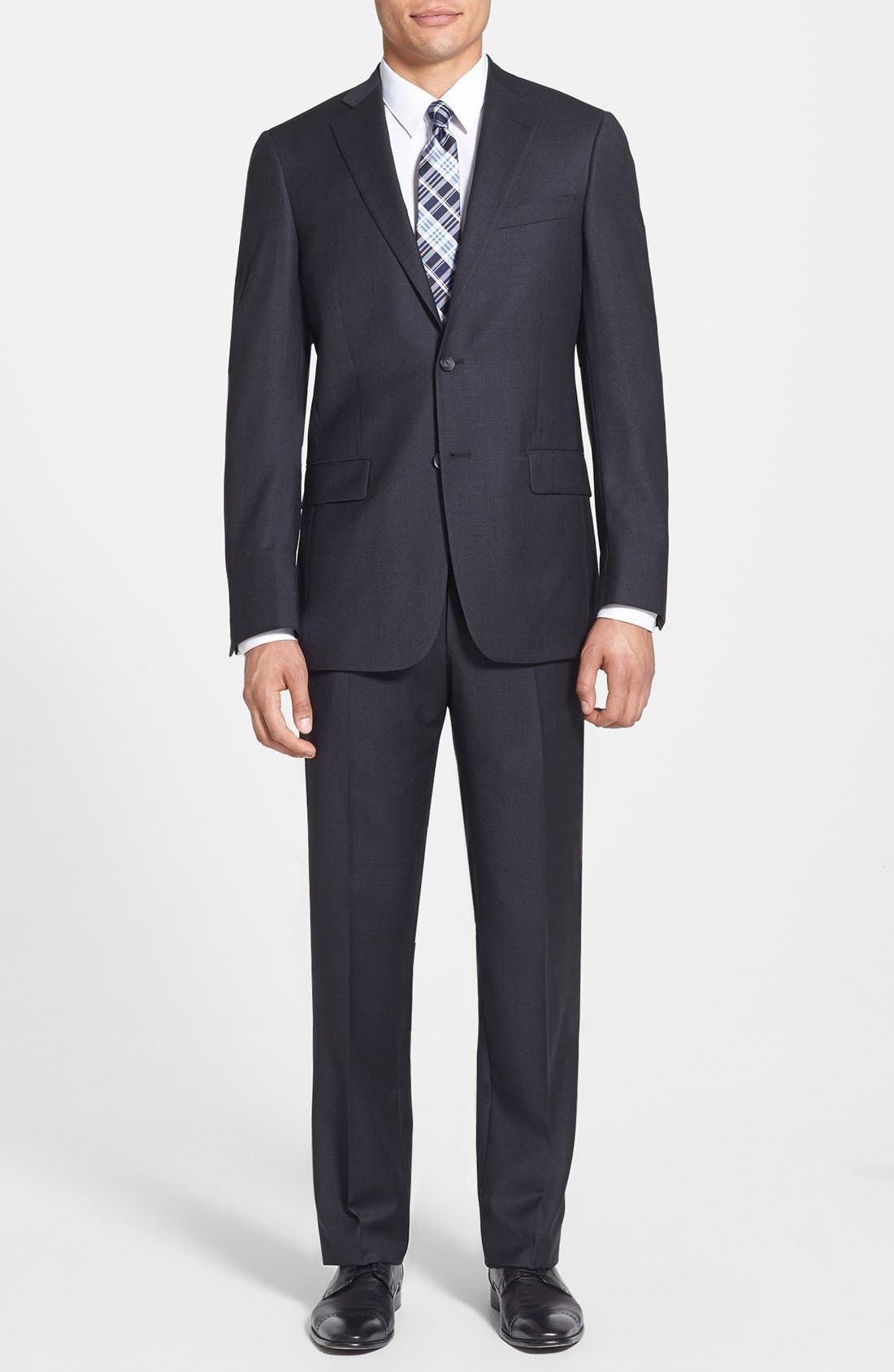 New York Classic Fit Solid Stretch Wool Suit,                         Main,                         color, GREY