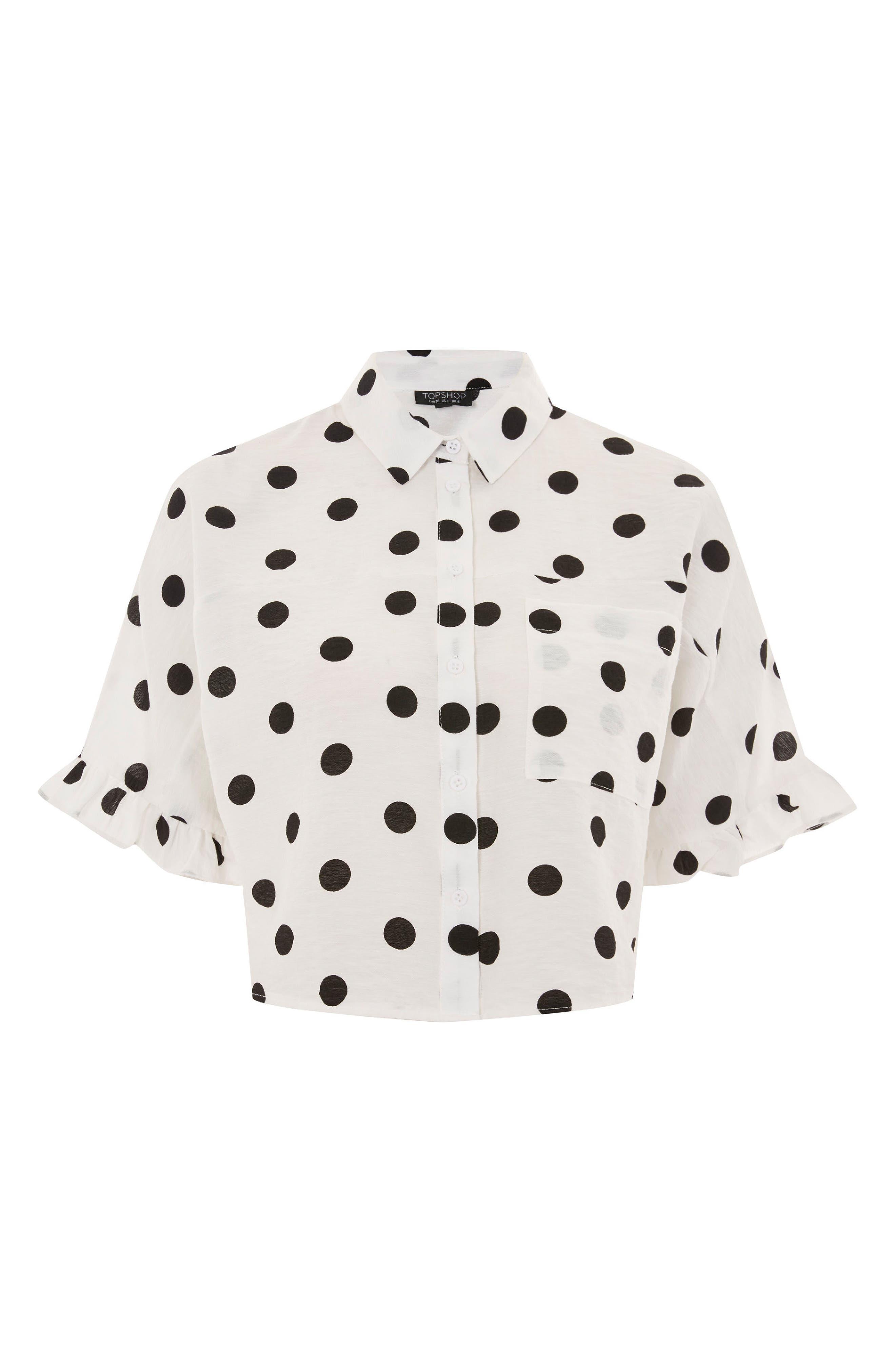 Fifi Frill Spot Shirt,                             Alternate thumbnail 3, color,                             101