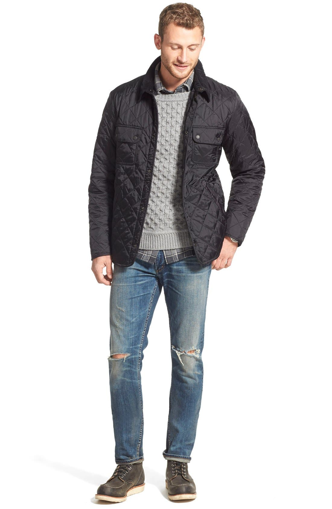 'Tinford' Regular Fit Quilted Jacket,                             Alternate thumbnail 7, color,                             001