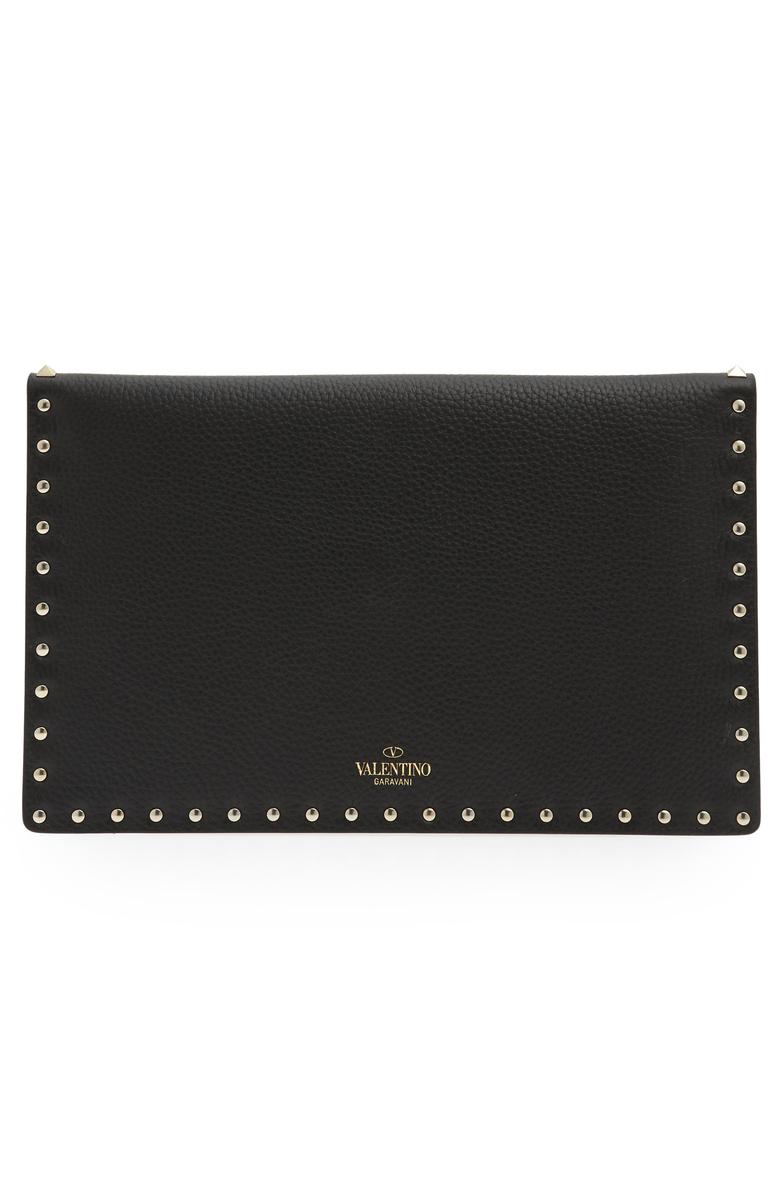 Large Rockstud Leather Pouch,                             Alternate thumbnail 3, color,                             NERO