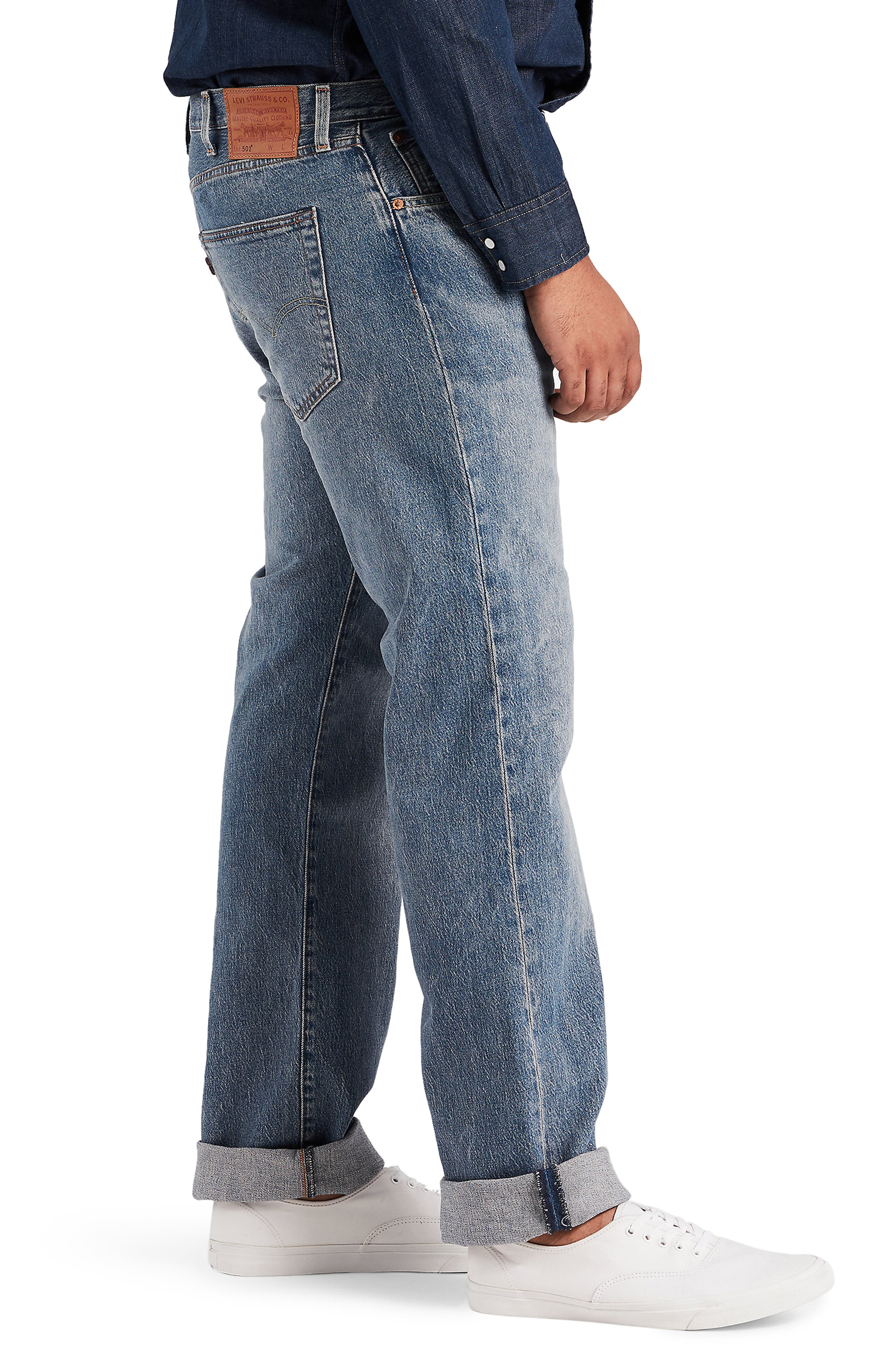 LEVI'S<SUP>®</SUP>,                             501<sup>®</sup> Straight Leg Jeans,                             Alternate thumbnail 3, color,                             BAYWATER