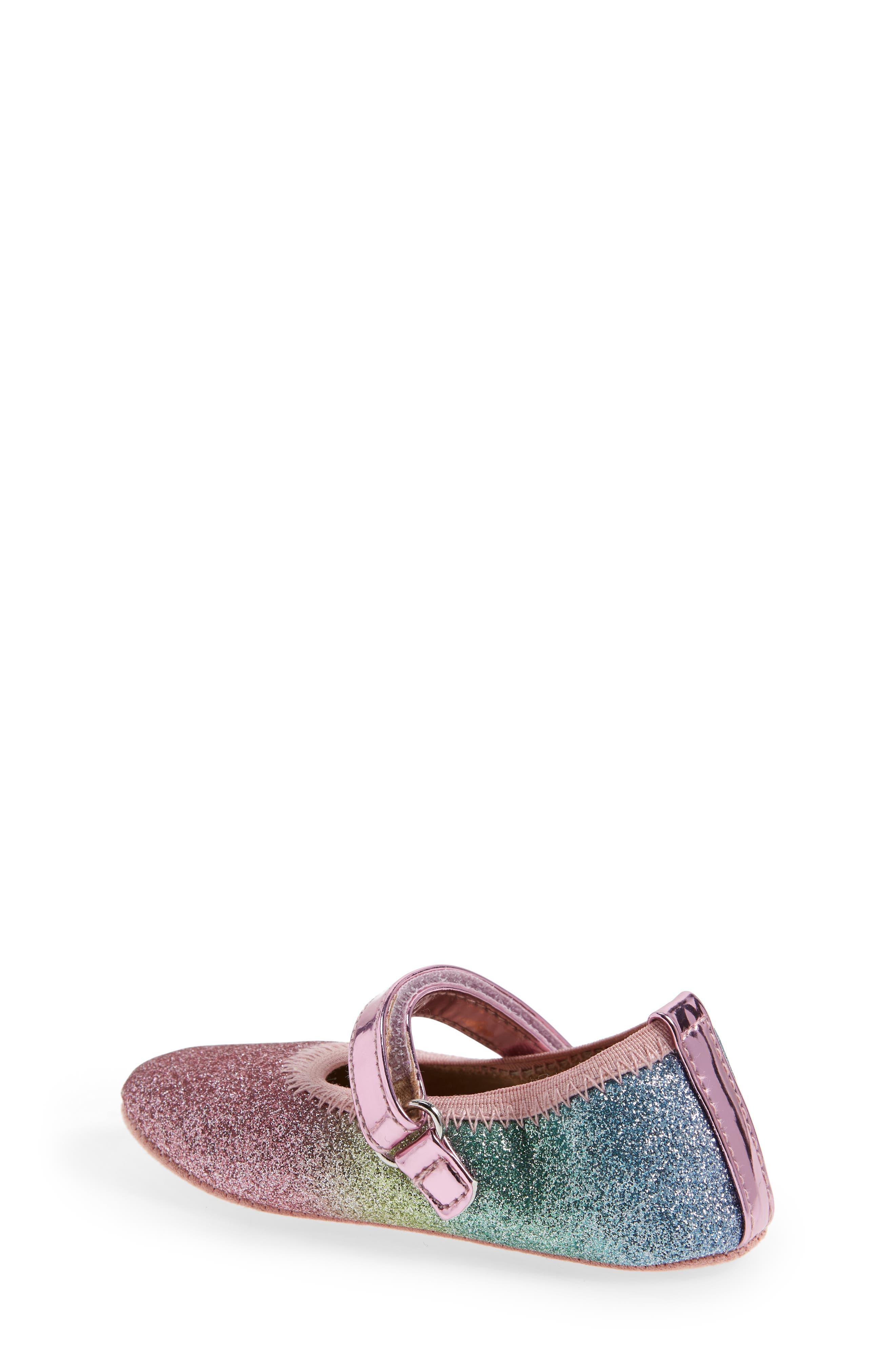 Glitter Rainbow Dancer Mary Jane Crib Shoe,                             Alternate thumbnail 2, color,                             650