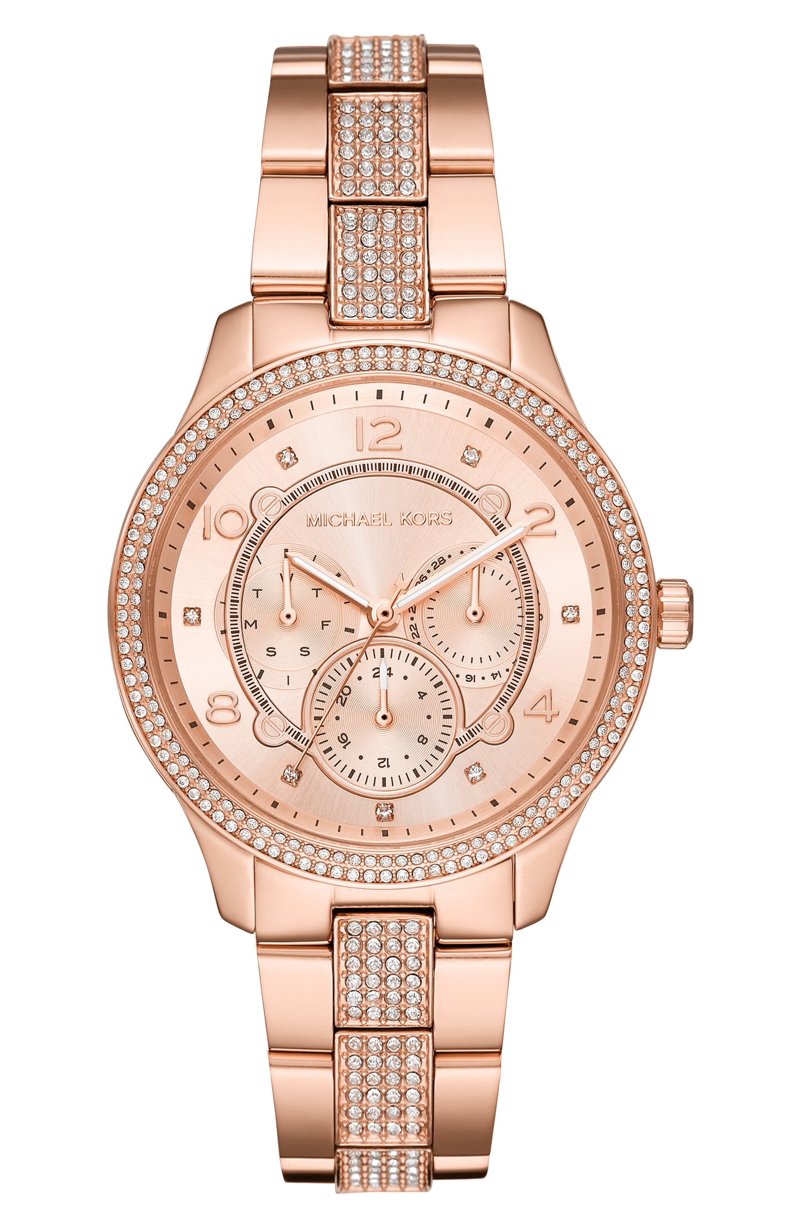 Runway Bracelet Watch, 38mm, Main, color, ROSE GOLD
