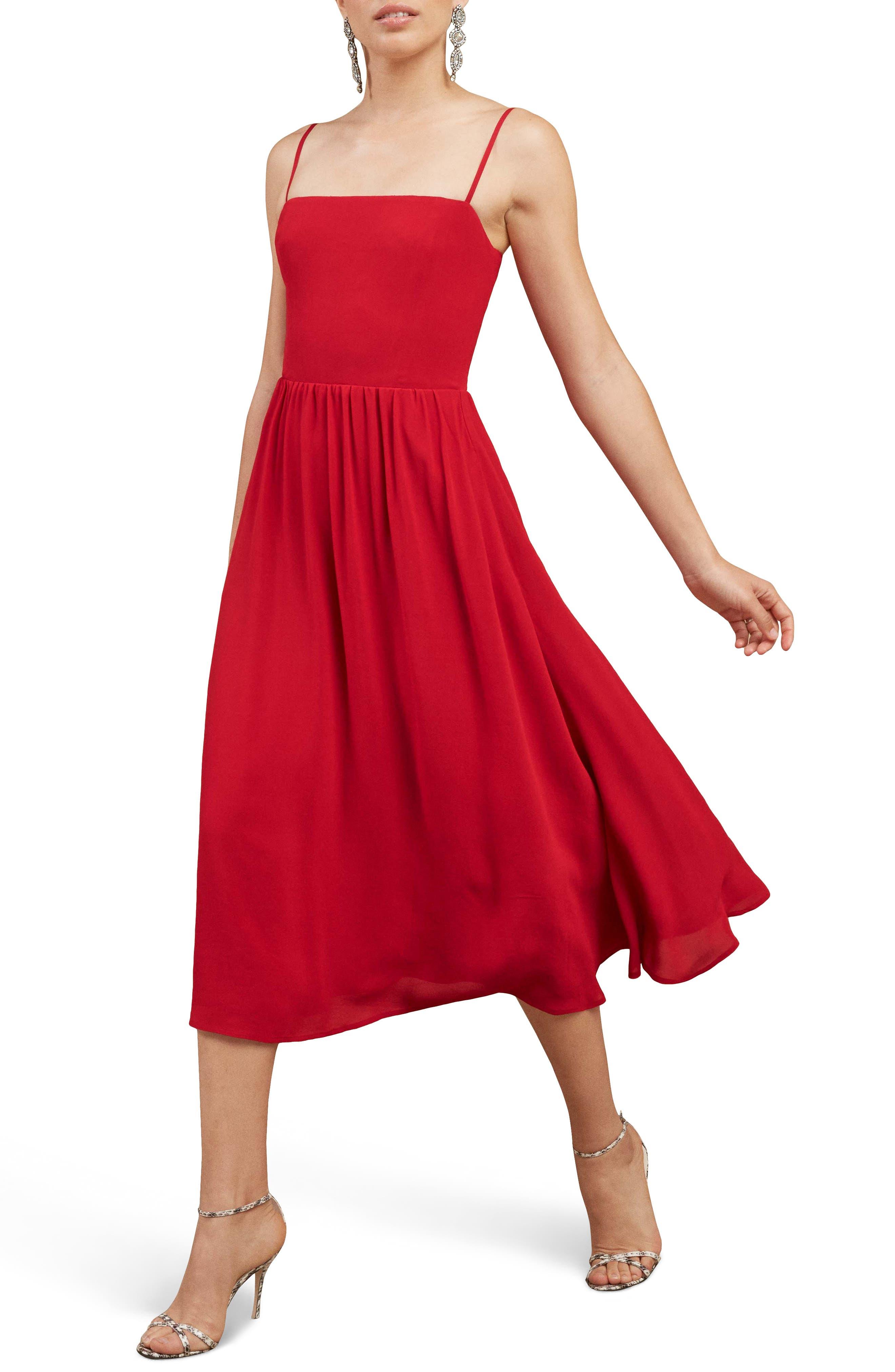 Rosehip Fit & Flare Dress,                             Main thumbnail 1, color,                             LIPSTICK