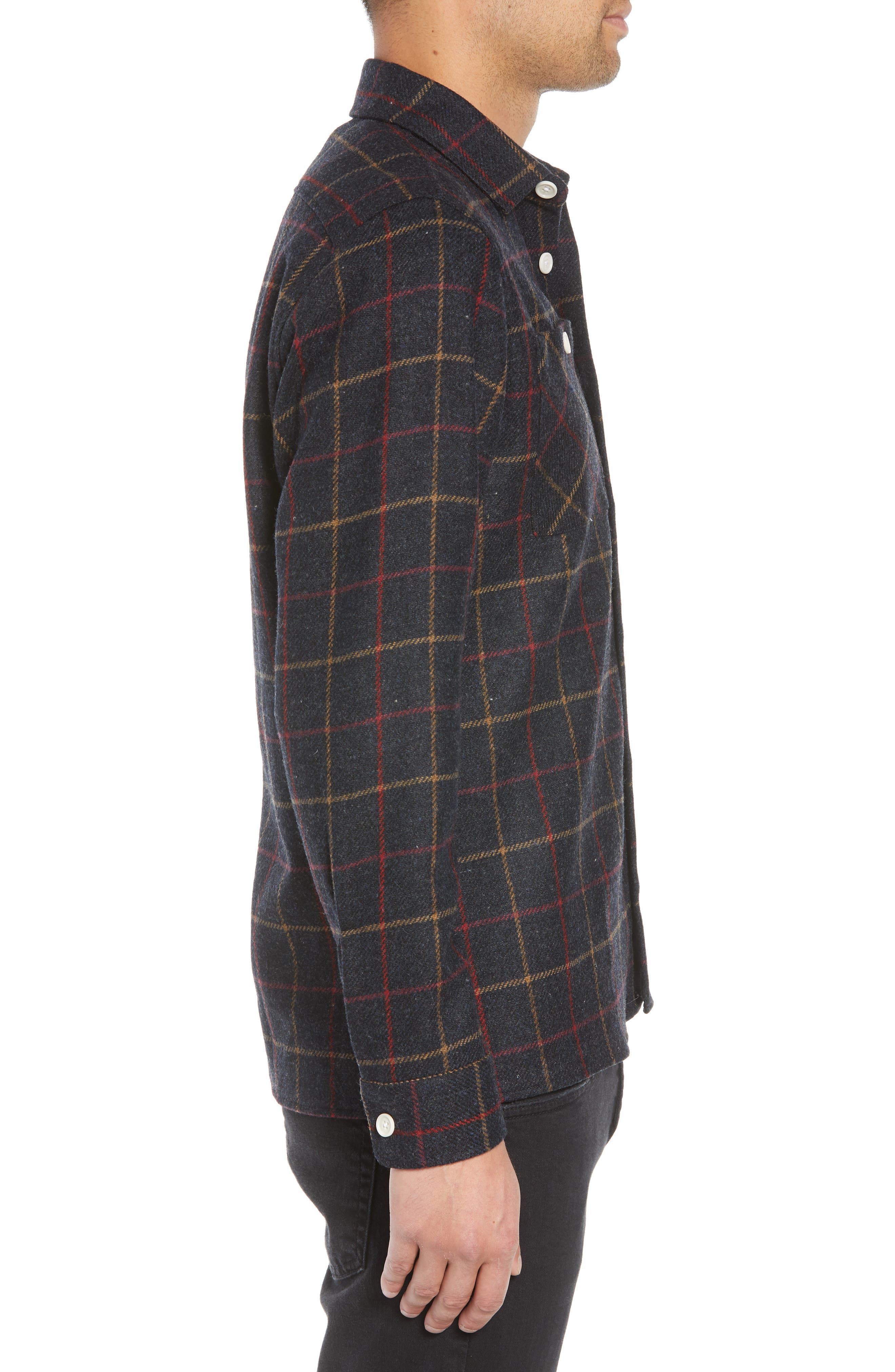 Whiting Tattersall Wool Shirt Jacket,                             Alternate thumbnail 4, color,                             BLACK WOOL CHECK