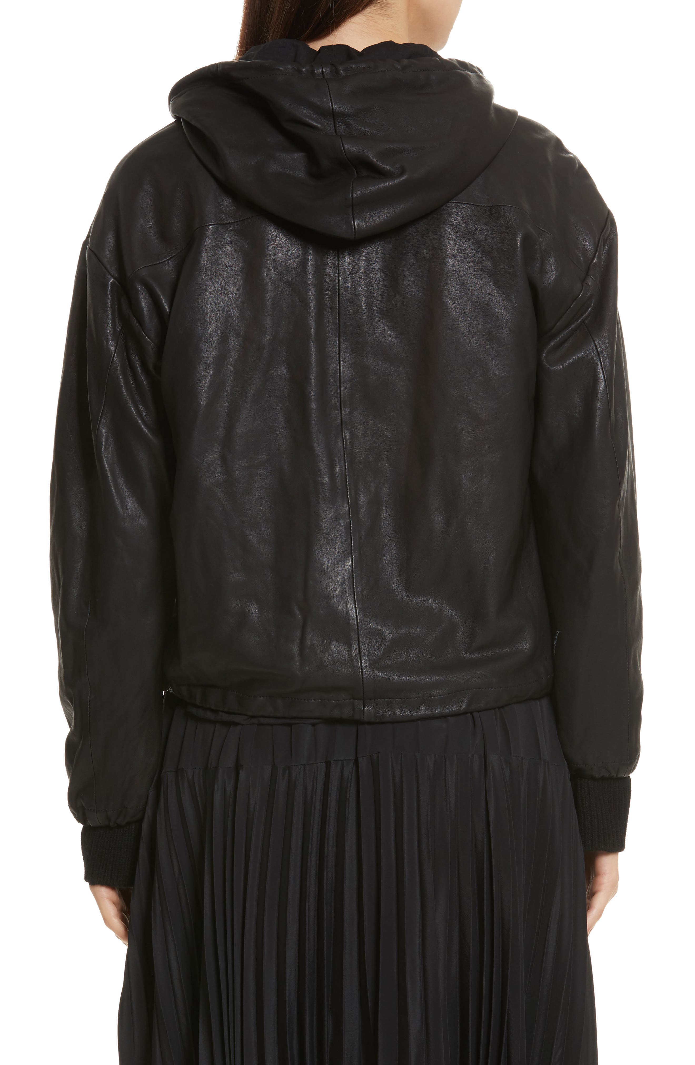 Leather Zip-Up Hoodie,                             Alternate thumbnail 2, color,                             001