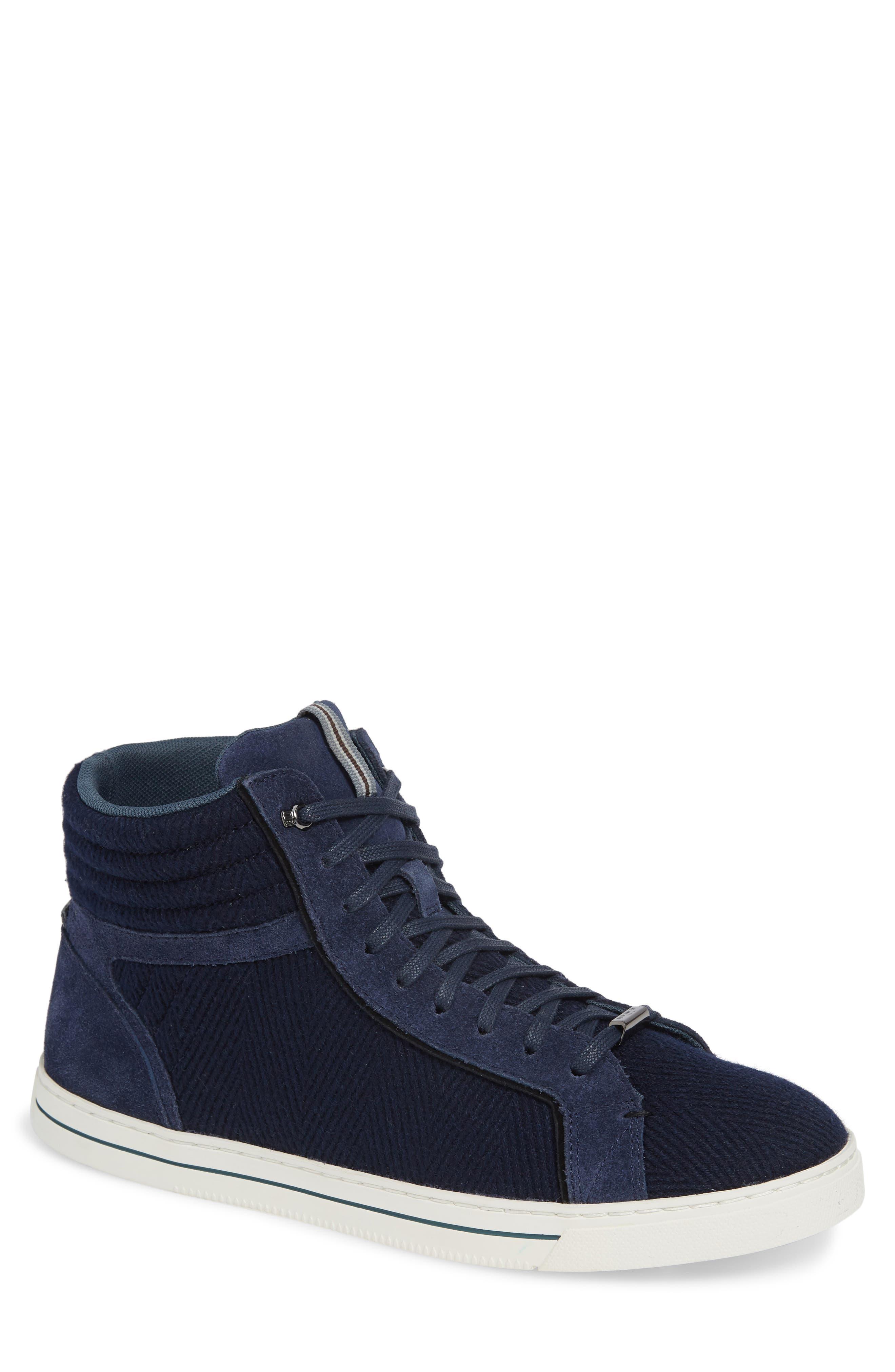 Luckan High Top Sneaker,                         Main,                         color, DARK BLUE FABRIC