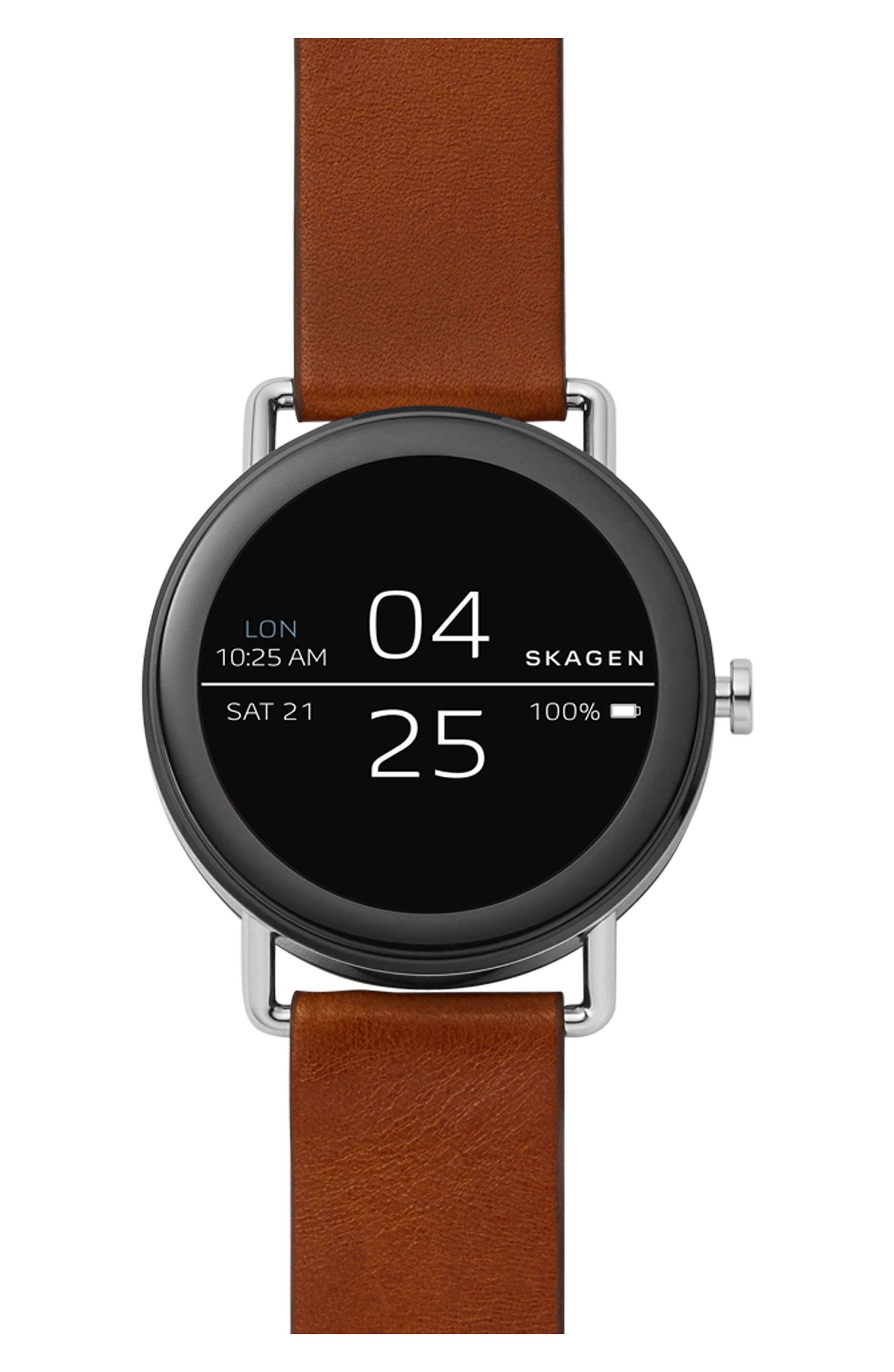 Falster Touchscreen Leather Strap Smart Watch, 42mm,                             Main thumbnail 1, color,                             BROWN/ SILVER