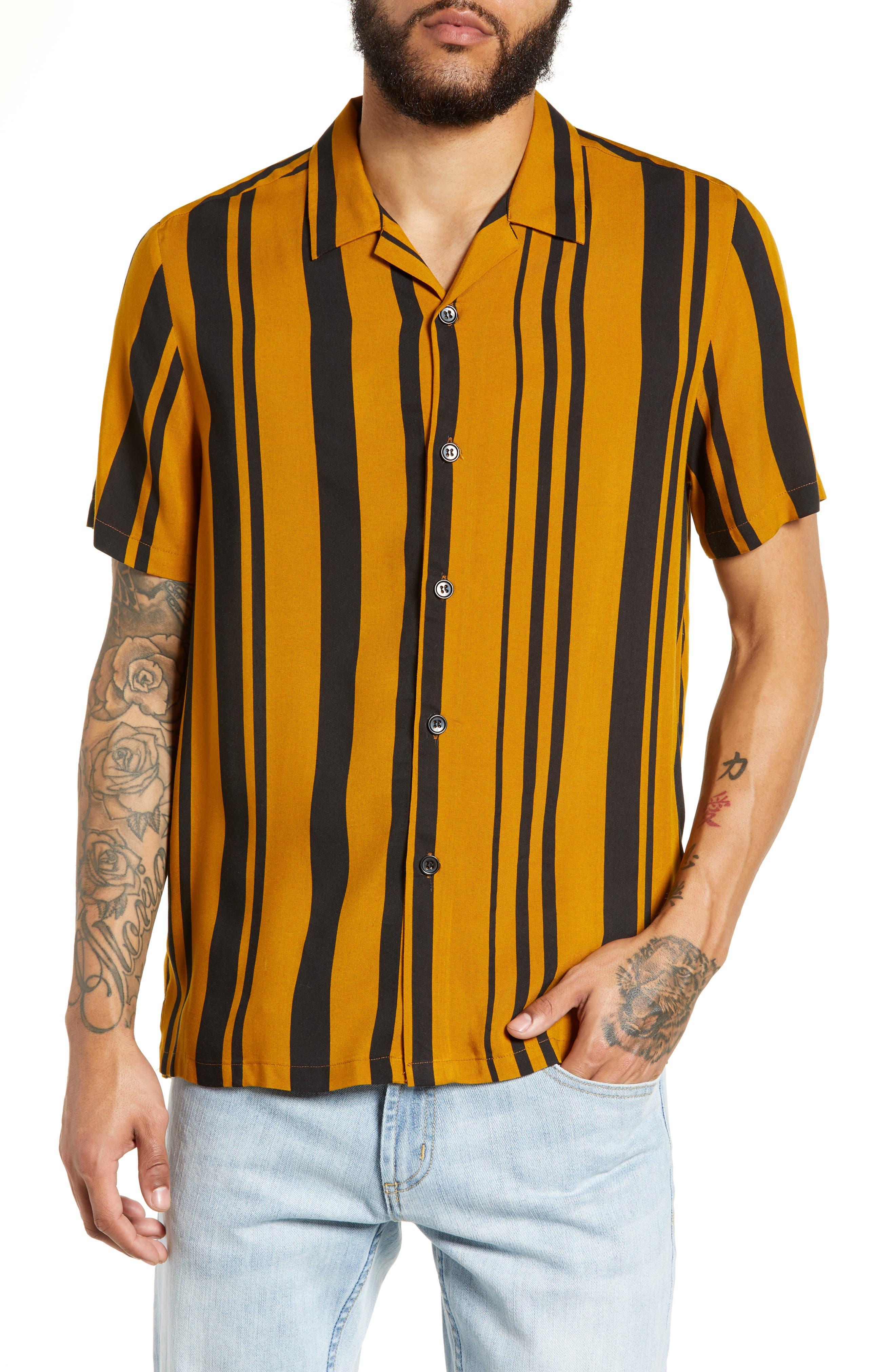 Stripe Classic Fit Shirt,                             Main thumbnail 1, color,                             YELLOW MULTI