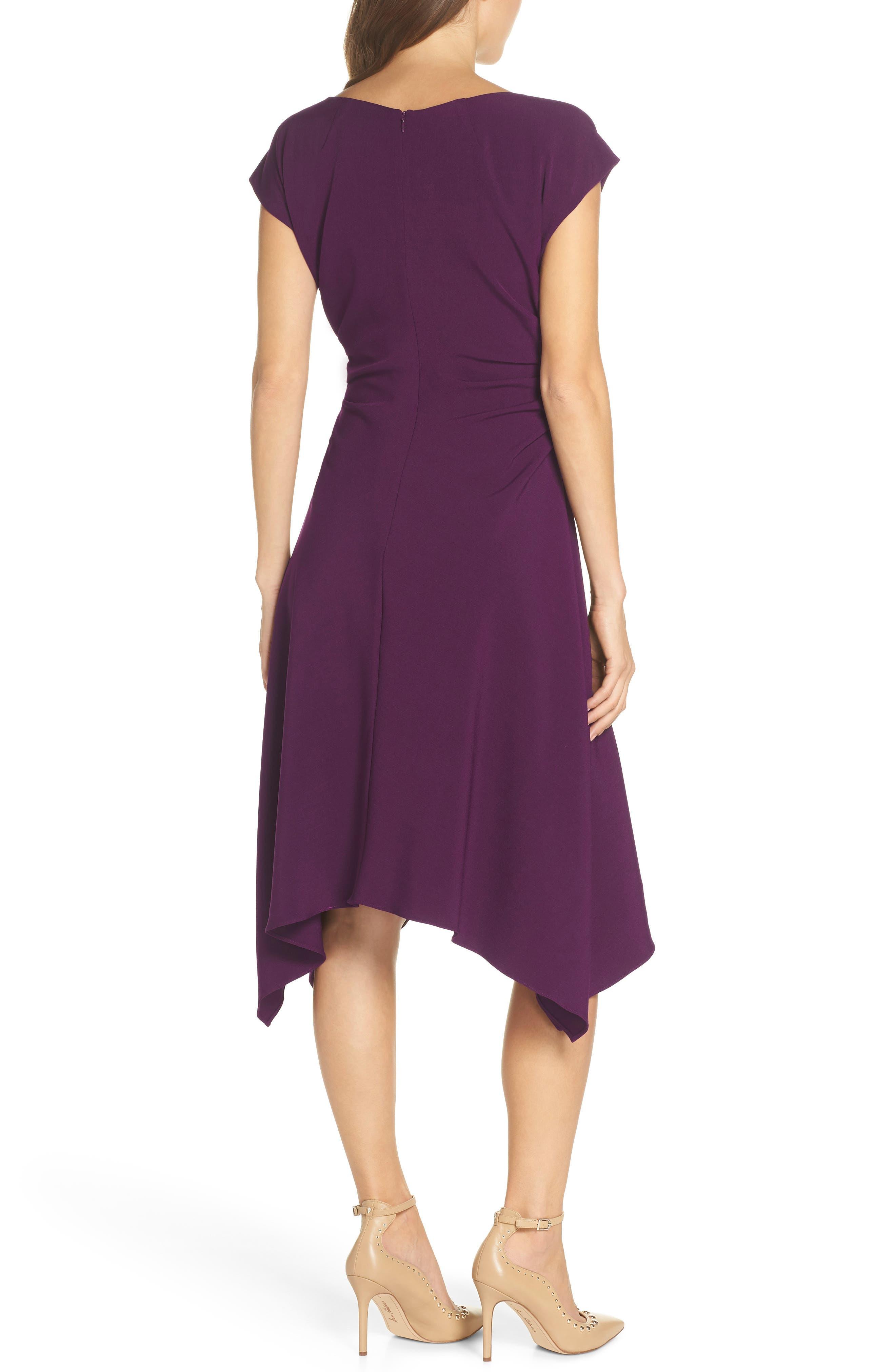 JULIA JORDAN,                             Ruched Stretch Crepe Fit & Flare Dress,                             Alternate thumbnail 2, color,                             PLUM