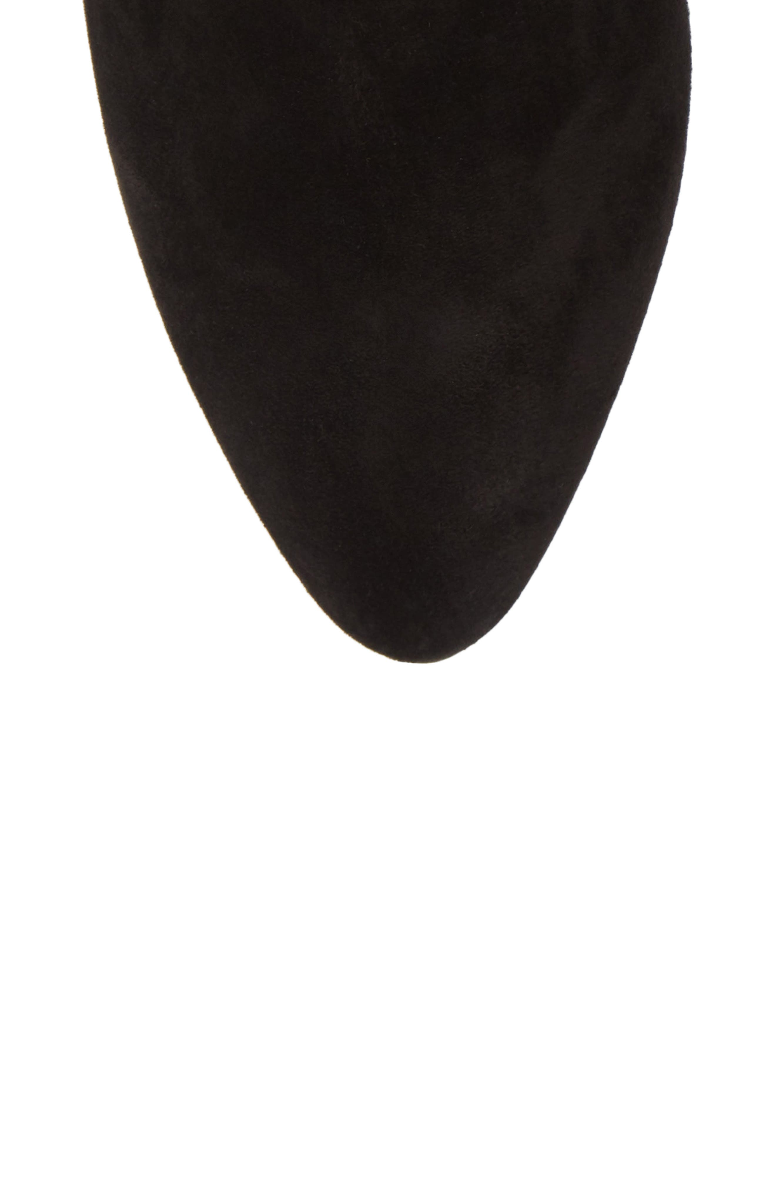 Eloise Pointy Toe Bootie,                             Alternate thumbnail 5, color,                             BLACK SUEDE