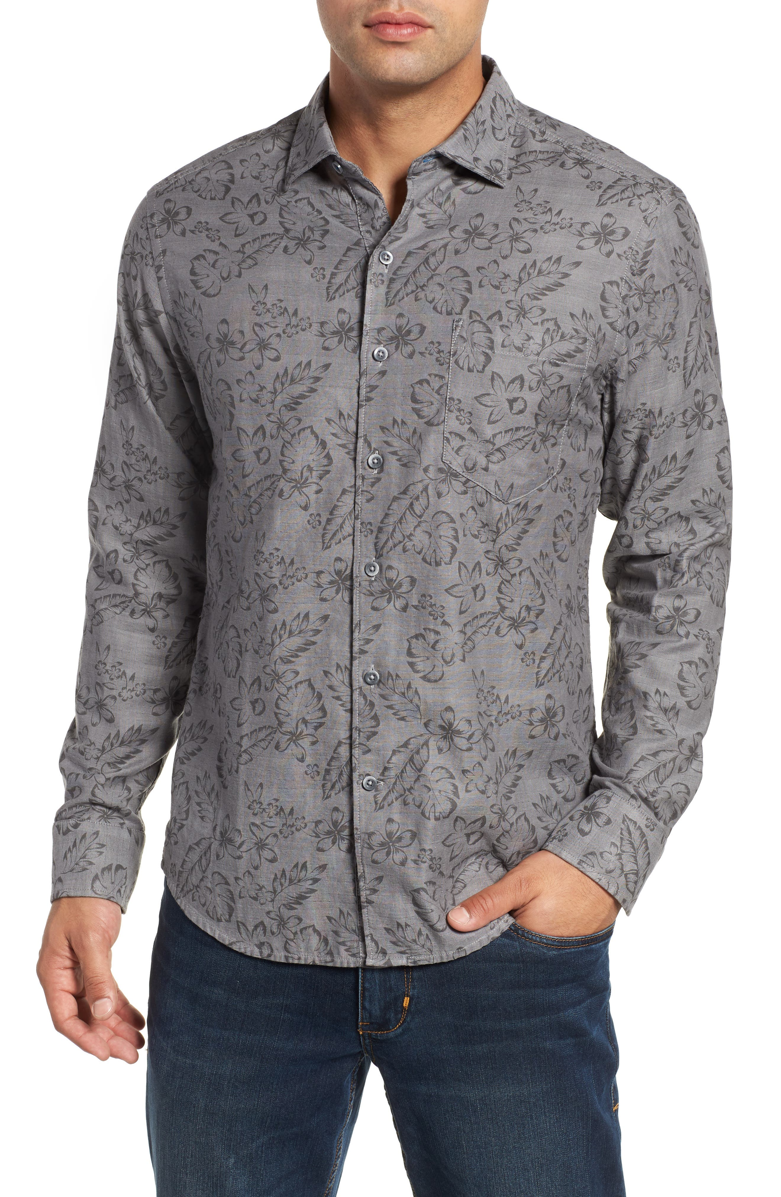Check Back Regular Fit Tropical Shirt,                             Main thumbnail 1, color,                             ARGENT