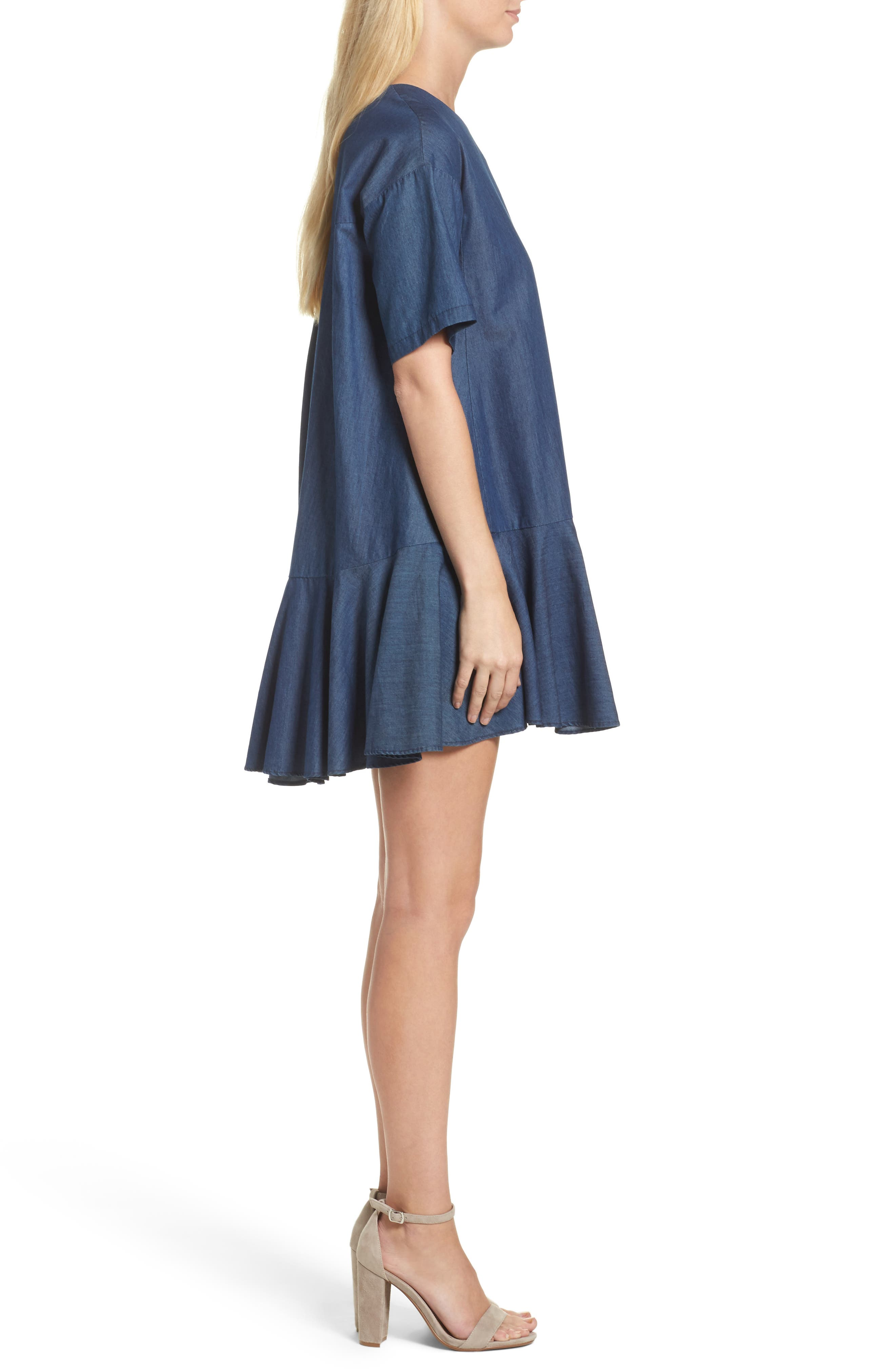 Arrow Chambray Babydoll Dress,                             Alternate thumbnail 3, color,                             478