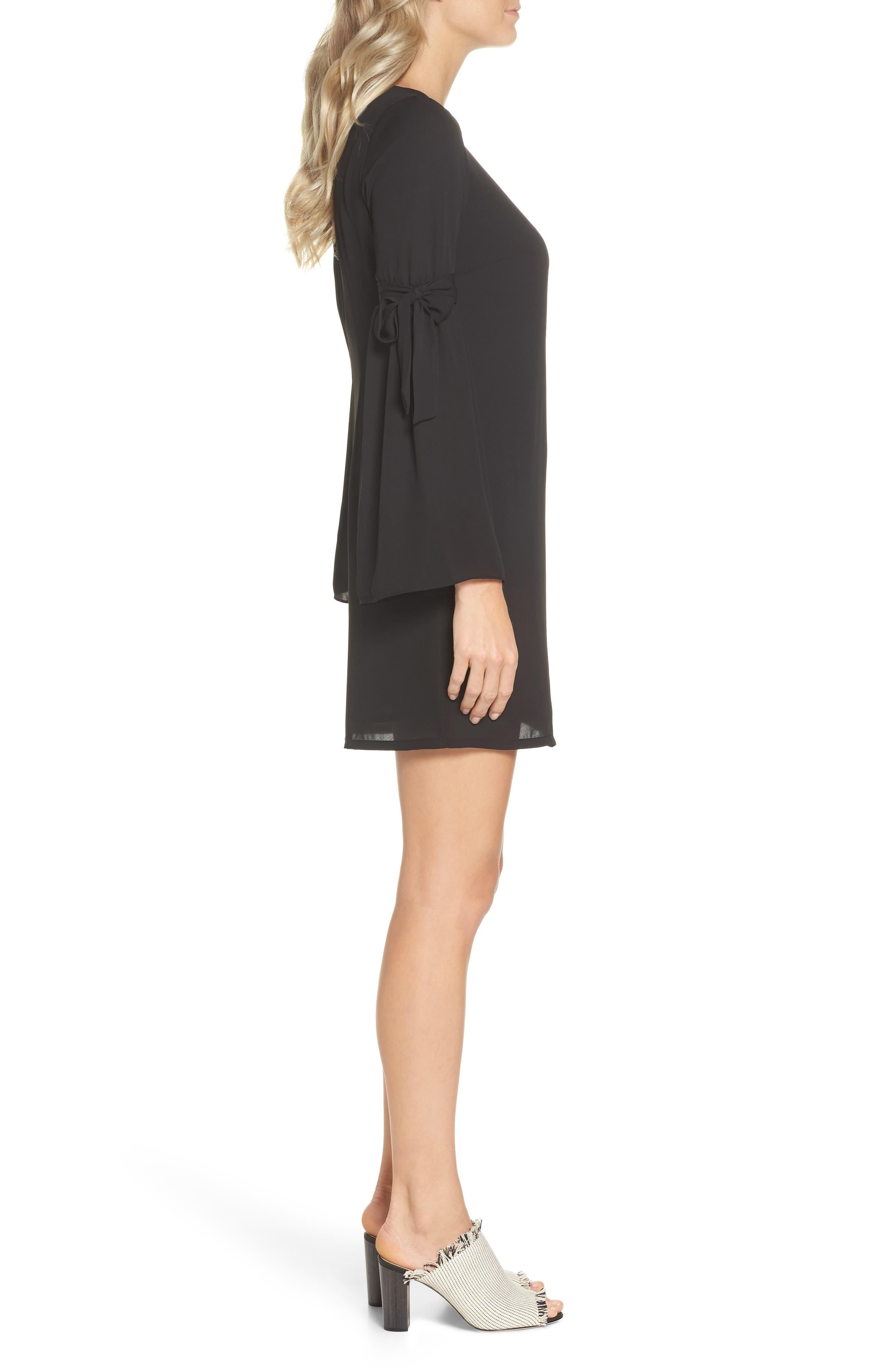 Bell Sleeve Dress,                             Alternate thumbnail 3, color,                             BLACK