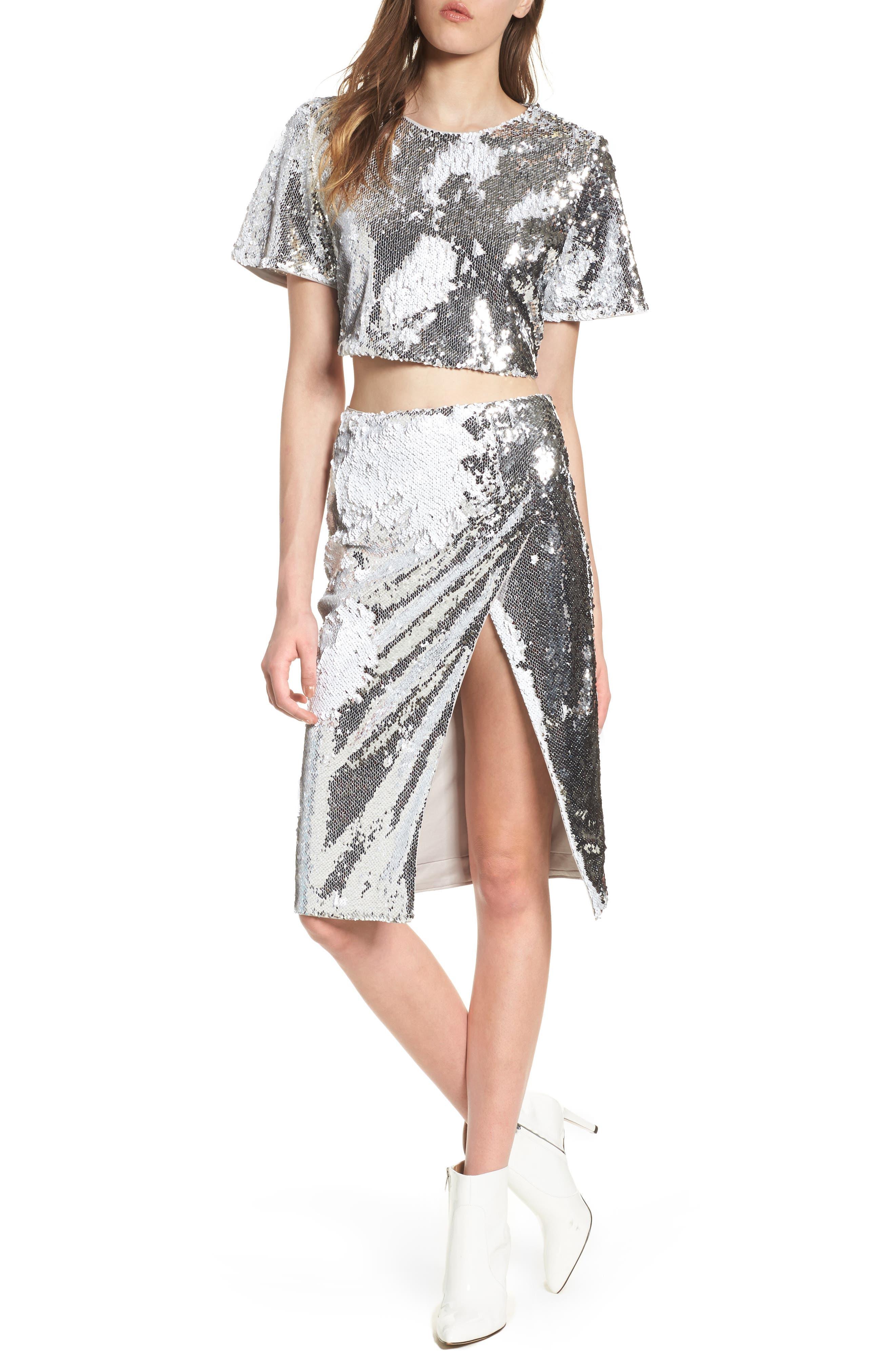 Liana Sequin Skirt,                             Alternate thumbnail 7, color,