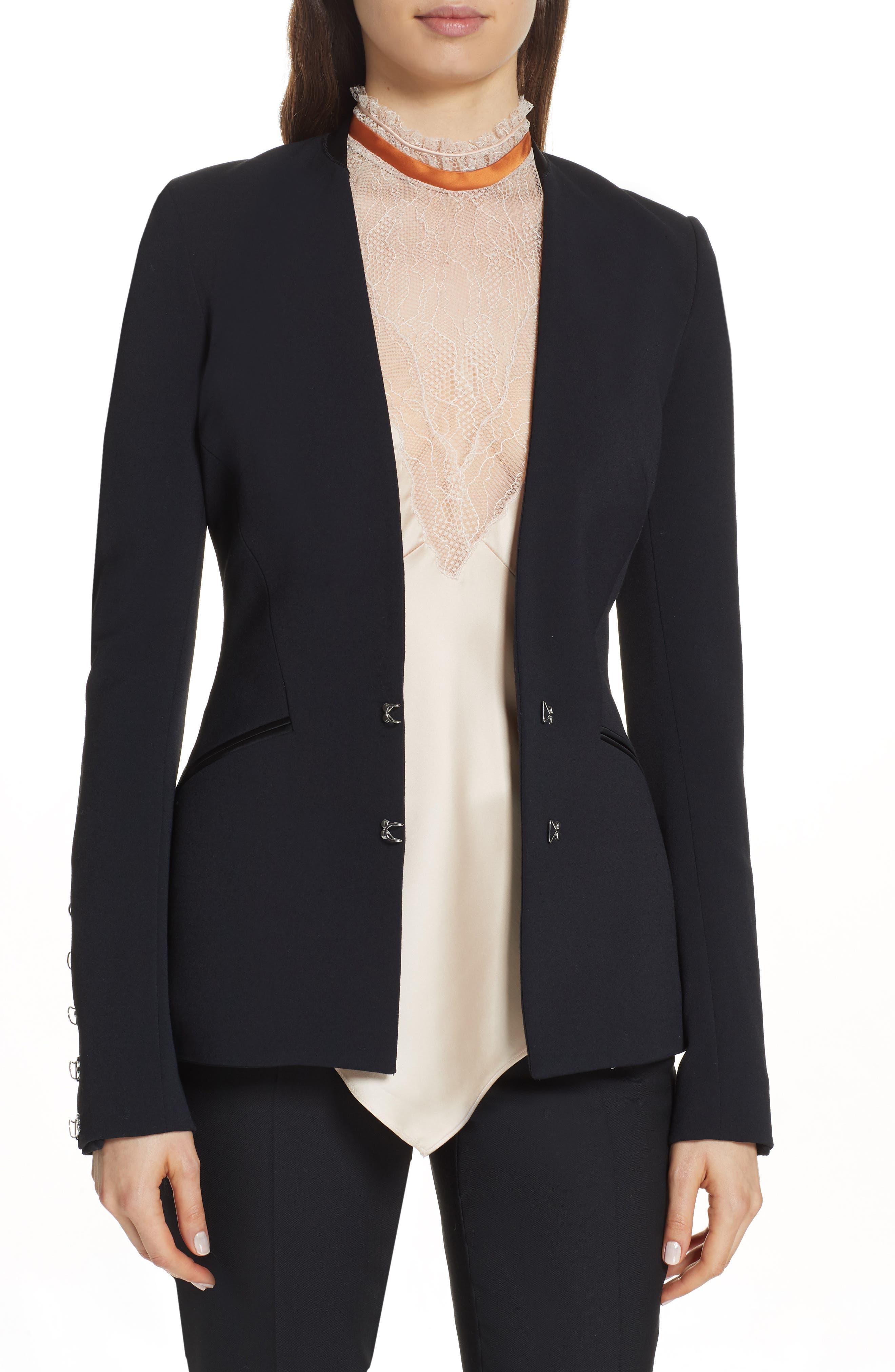Stretch Wool Hook-Front Basque Blazer in Black