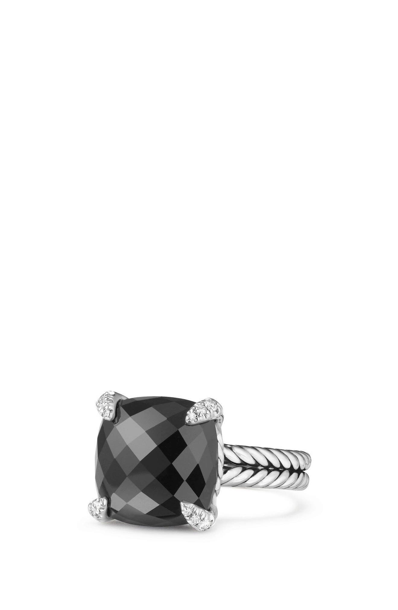Châtelaine Ring with Semiprecious Stone & Diamonds,                             Main thumbnail 1, color,                             BLACK ONYX