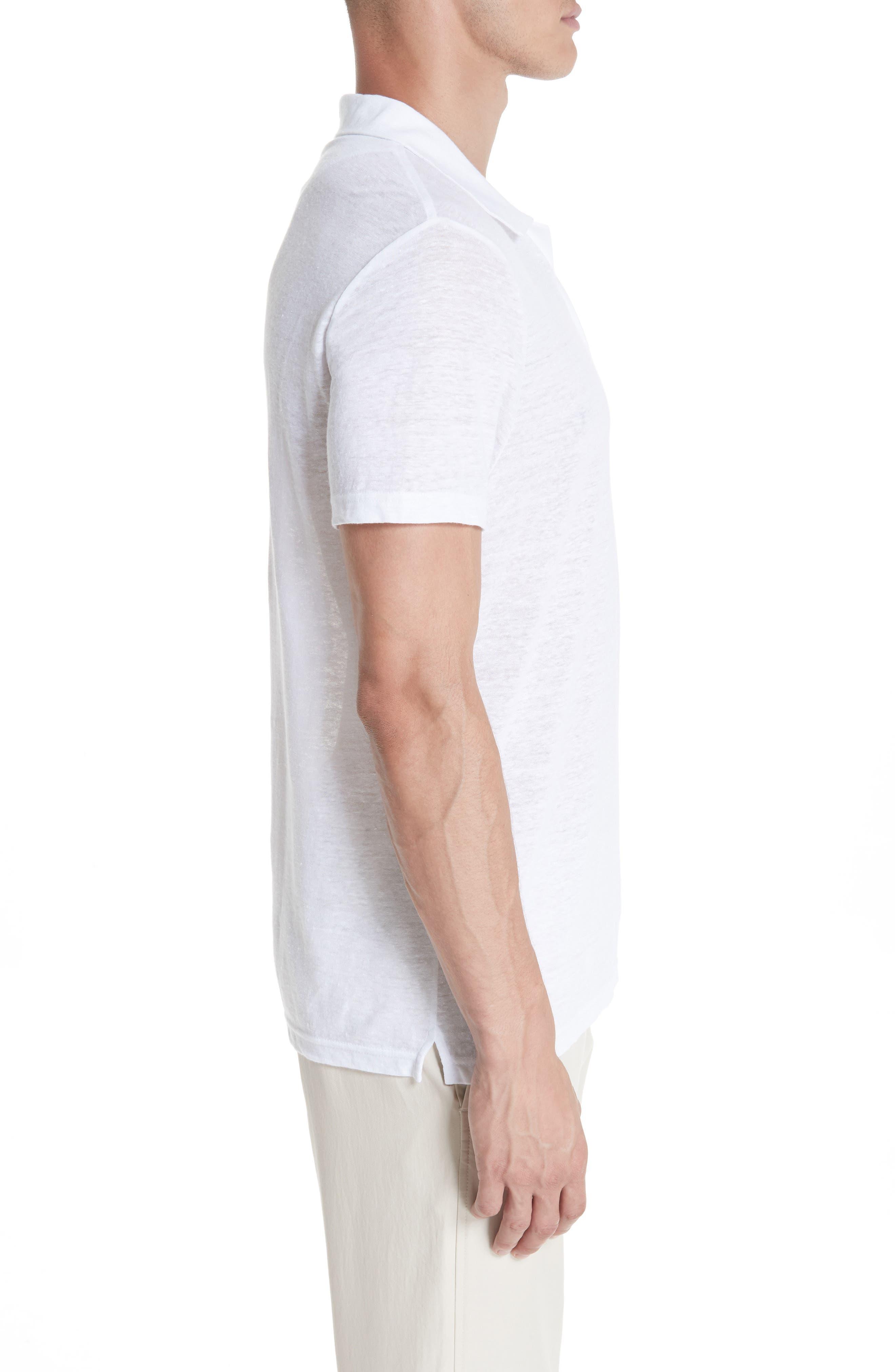 Jersey Linen Johnny Collar Polo,                             Alternate thumbnail 3, color,                             WHITE