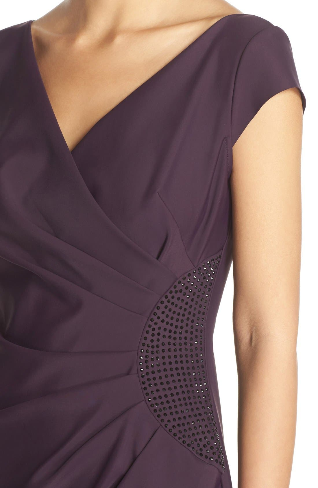 Embellished Jersey Column Gown,                             Alternate thumbnail 3, color,                             504