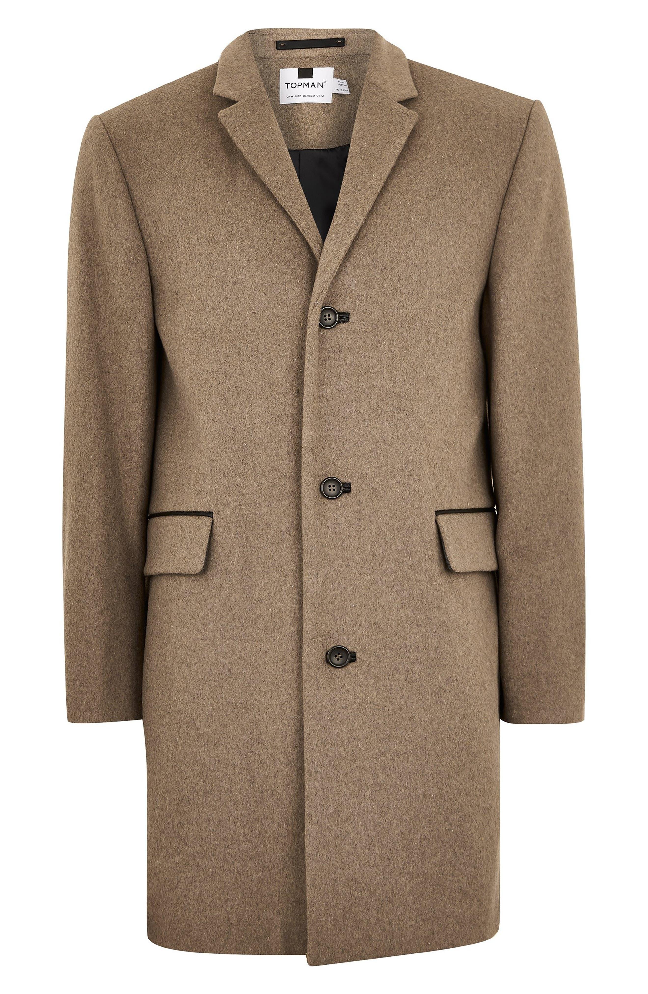 Wool Blend Overcoat,                             Alternate thumbnail 4, color,                             LIGHT BROWN