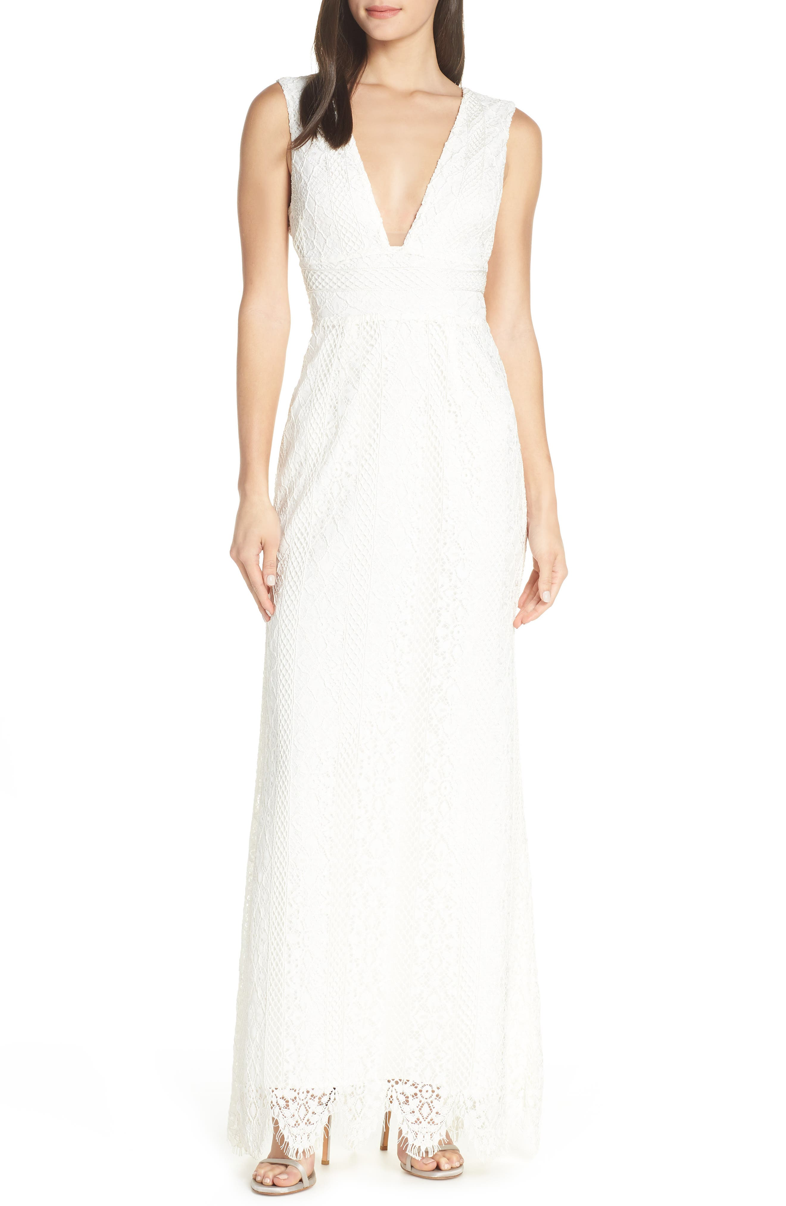 Foxiedox Charlie Plunge Lace Evening Dress, Ivory