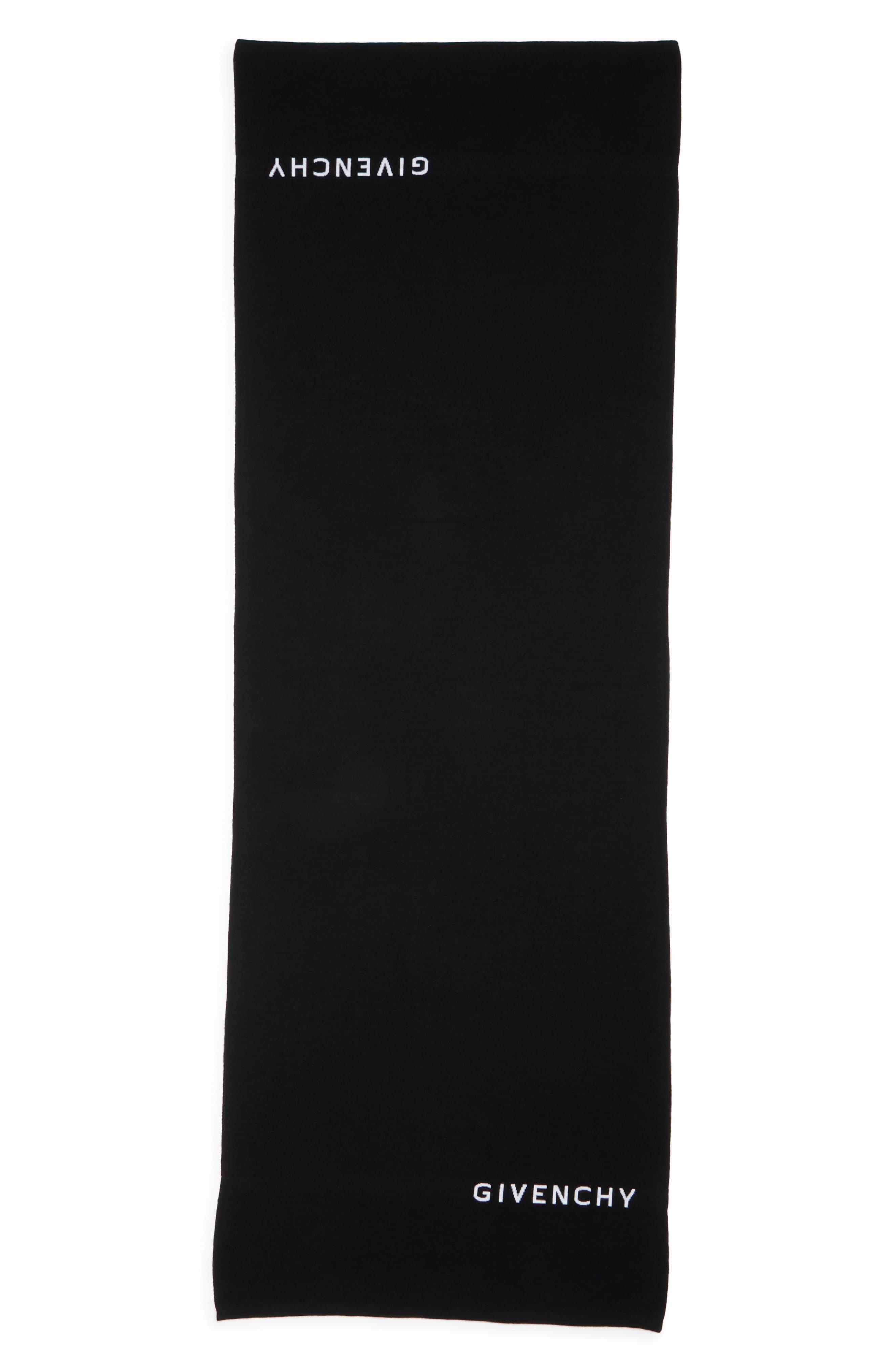 Knit Logo Wool Scarf,                             Main thumbnail 1, color,                             BLACK/ WHITE