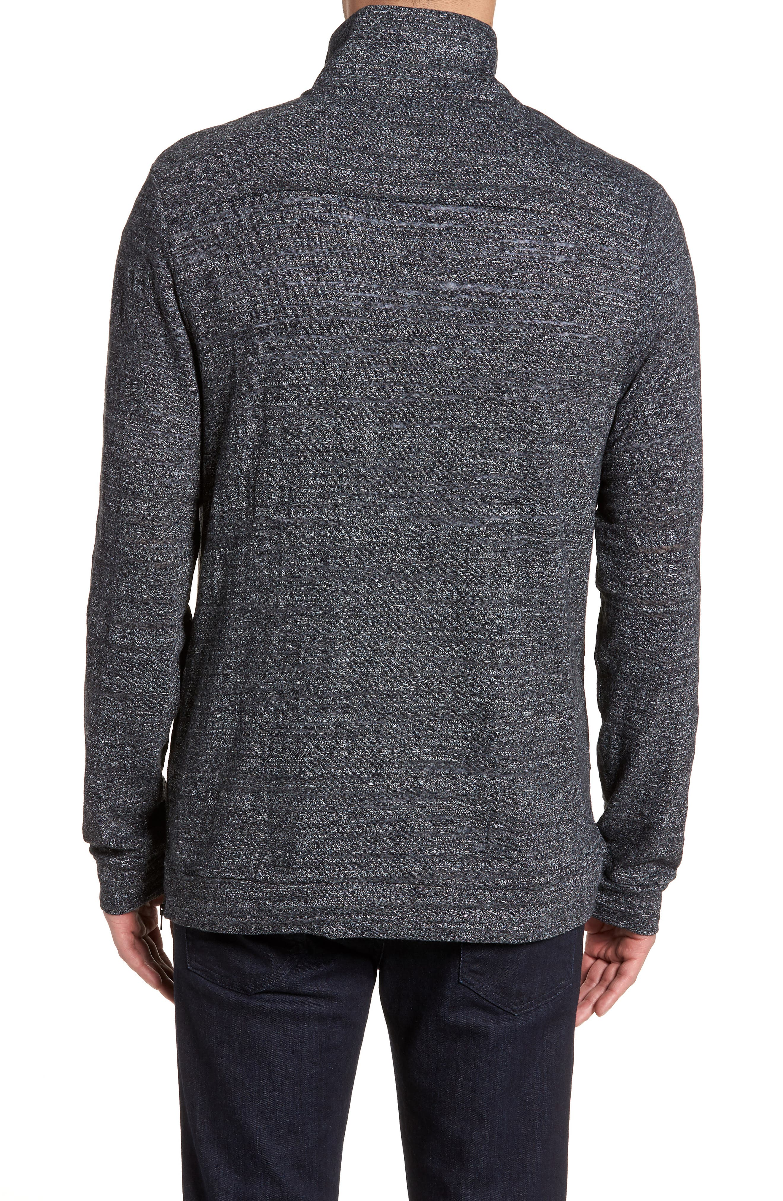 CALIBRATE,                             Textured Zip Fleece Sweatshirt,                             Alternate thumbnail 2, color,                             001
