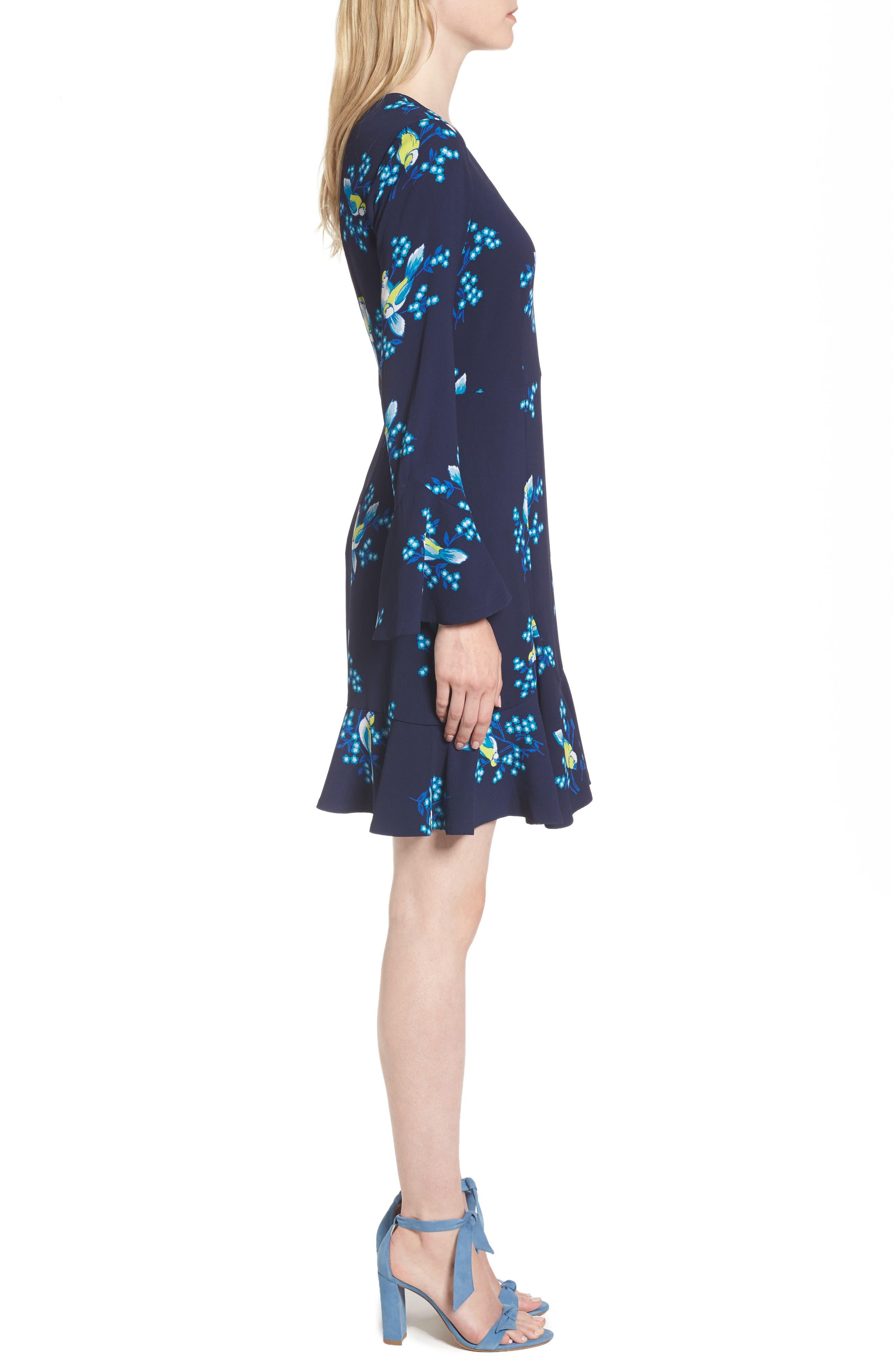 Magnolia Mockingbird Bell Sleeve A-line Dress,                             Alternate thumbnail 3, color,                             432