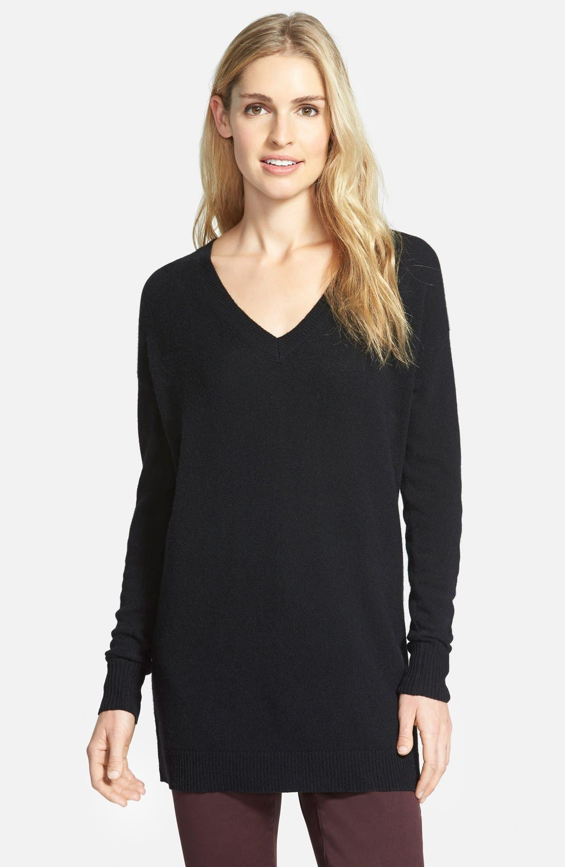HALOGEN<SUP>®</SUP>,                             V-Neck Cashmere Tunic Sweater,                             Alternate thumbnail 5, color,                             001
