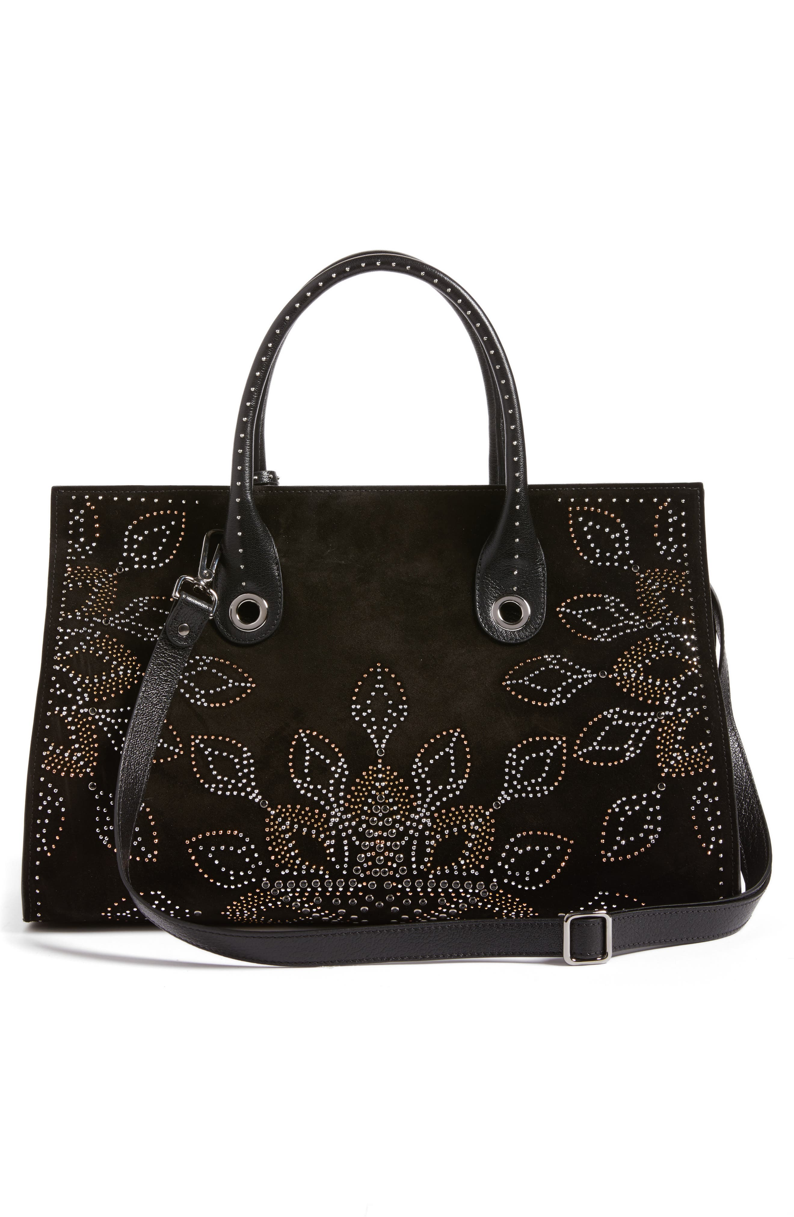 Riley Micro Studded Leather Tote,                             Alternate thumbnail 3, color,                             001