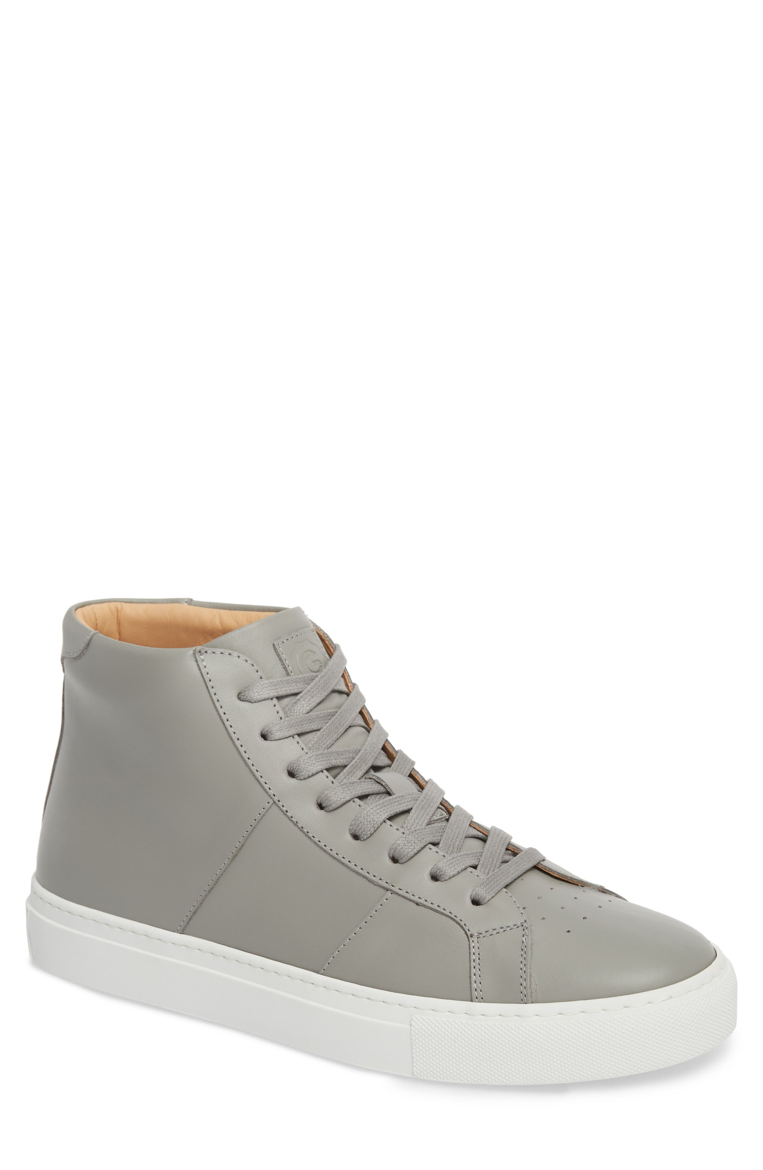 Royale High Top Sneaker,                             Main thumbnail 1, color,                             GREY LEATHER
