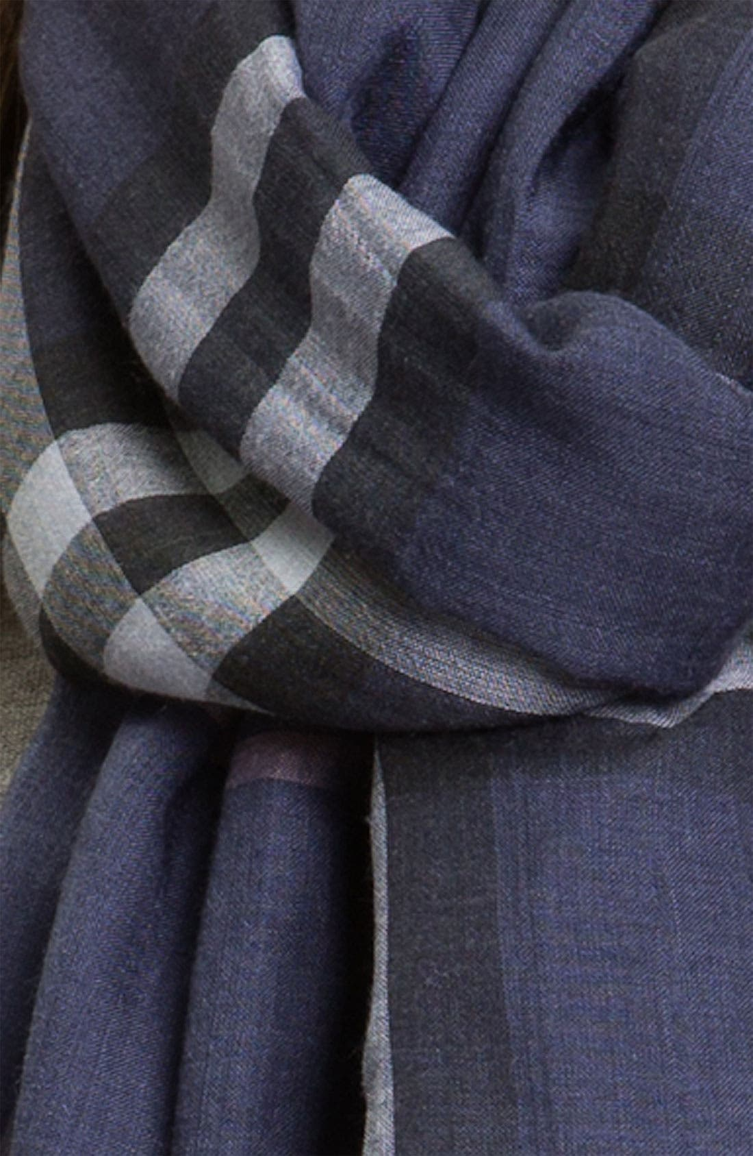 Giant Check Print Wool & Silk Scarf,                             Alternate thumbnail 87, color,