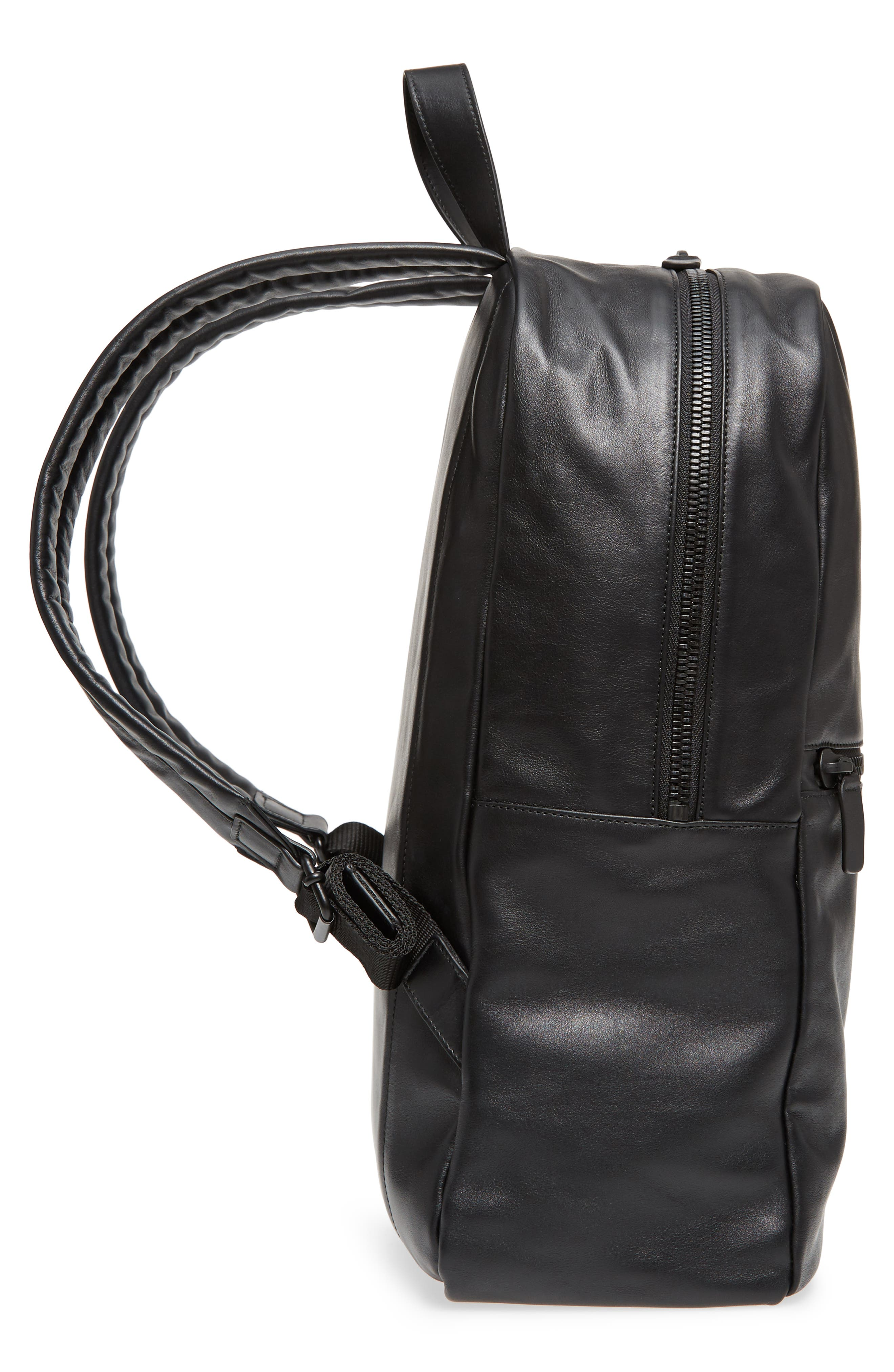 Soft Leather Backpack,                             Alternate thumbnail 5, color,                             BLACK