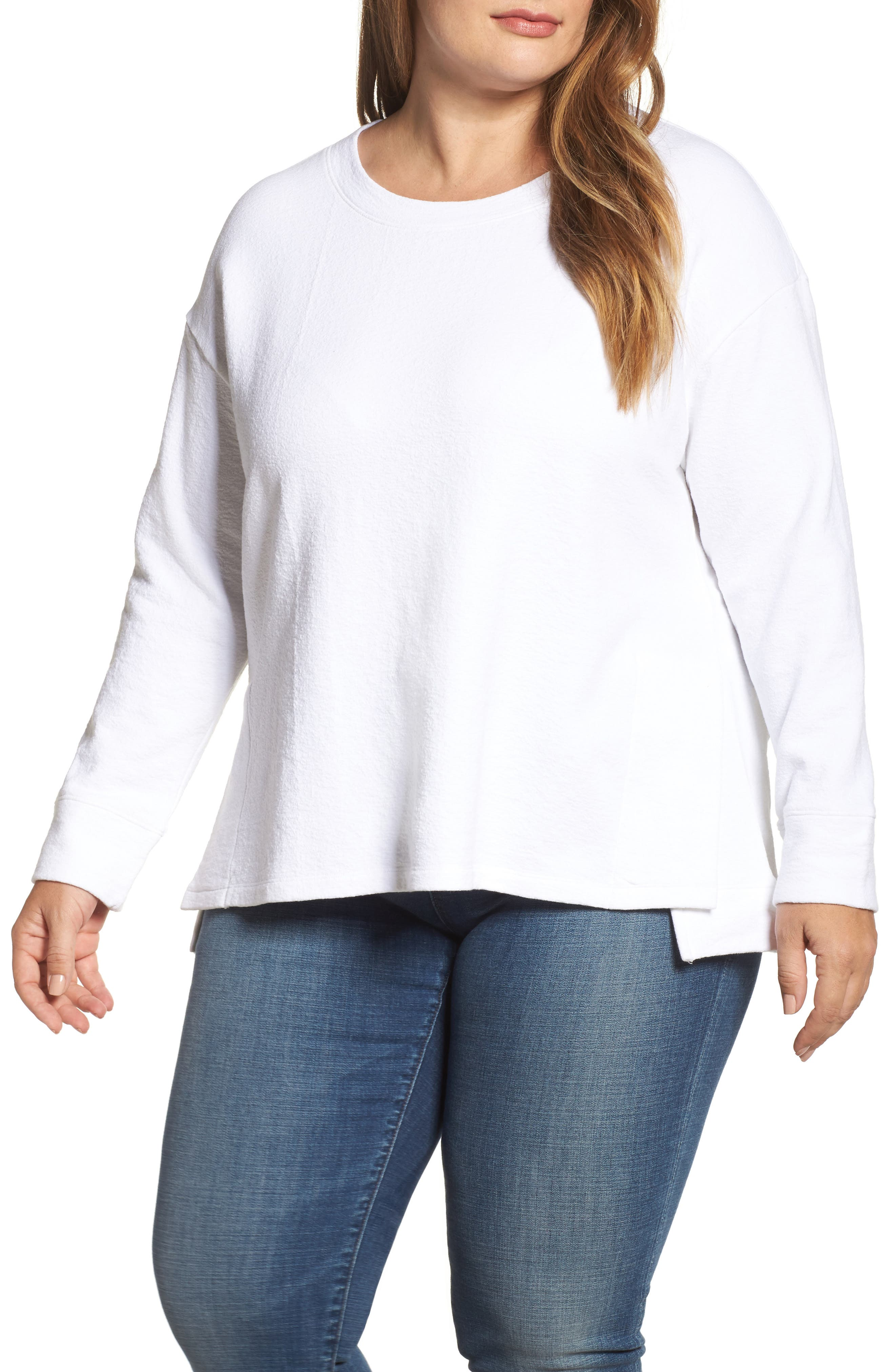 Side Slit Sweatshirt,                         Main,                         color, 100