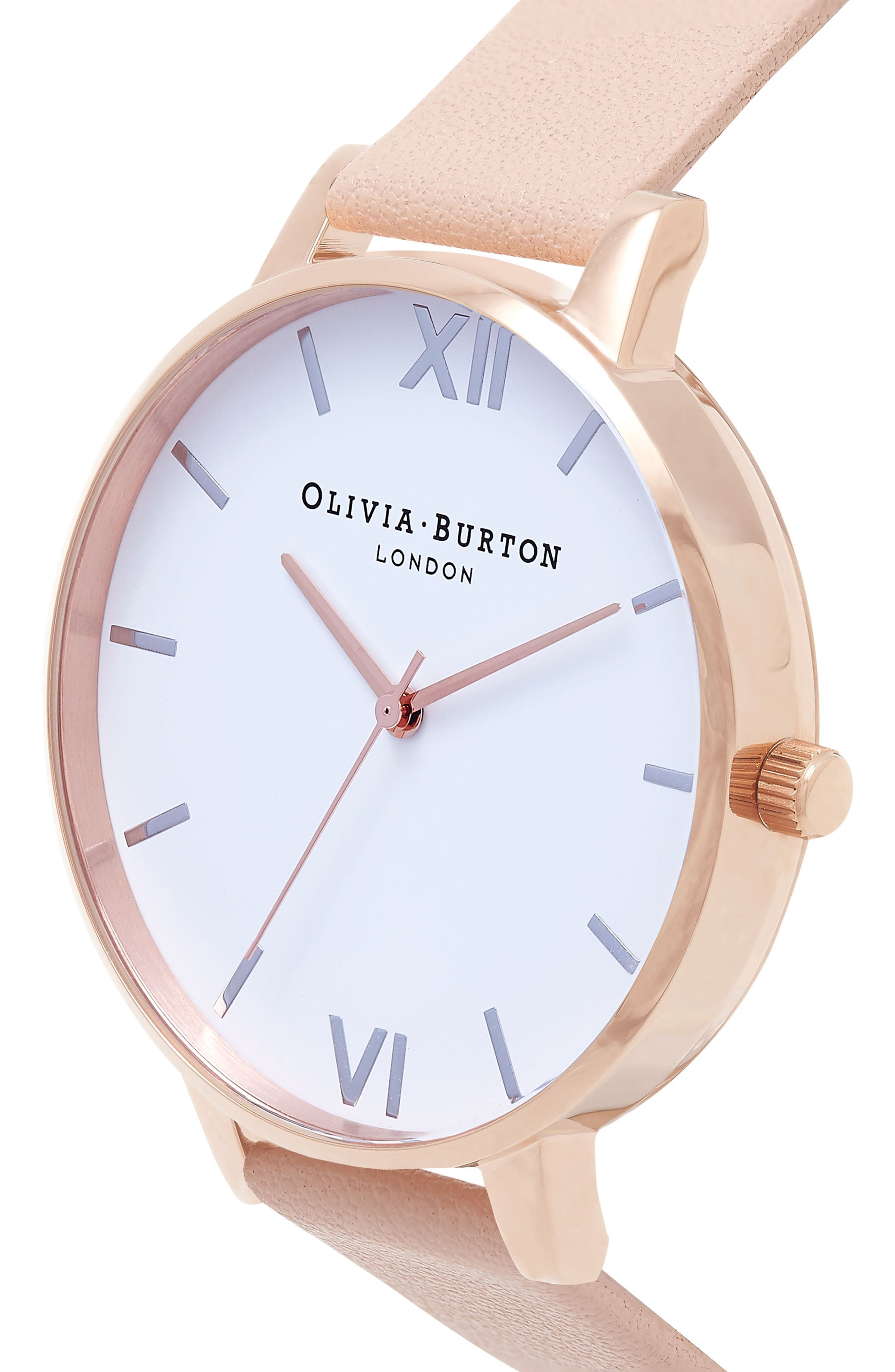 Big Dial Leather Strap Watch, 38mm,                             Alternate thumbnail 4, color,                             PEACH/ WHITE/ ROSE/ SILVER