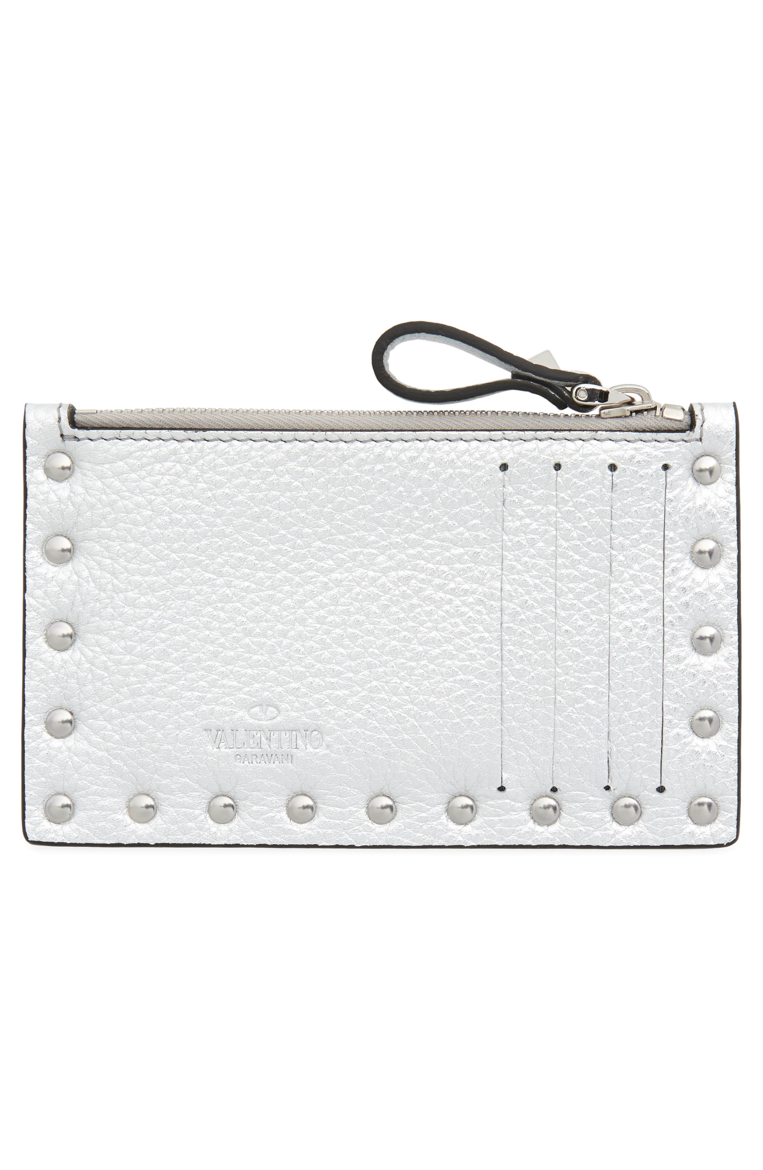 Rockstud Leather Zip Card Case,                             Alternate thumbnail 2, color,                             SILVER