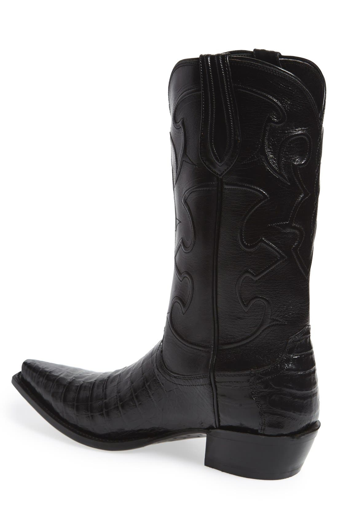 LUCCHESE,                             'Charles' Calfskin & Genuine Crocodile Leather Snip Toe Western Boot,                             Alternate thumbnail 3, color,                             002