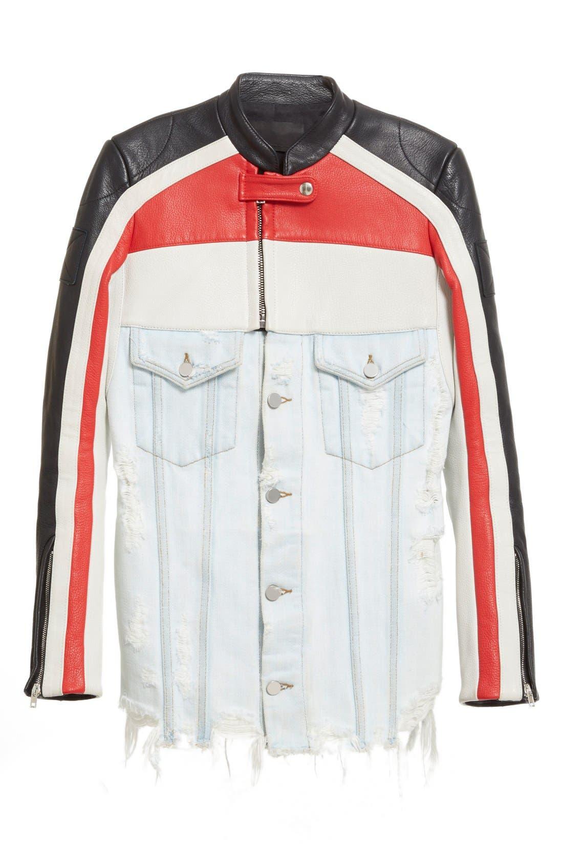 Hybrid Moto & Denim Jacket,                             Alternate thumbnail 3, color,                             001
