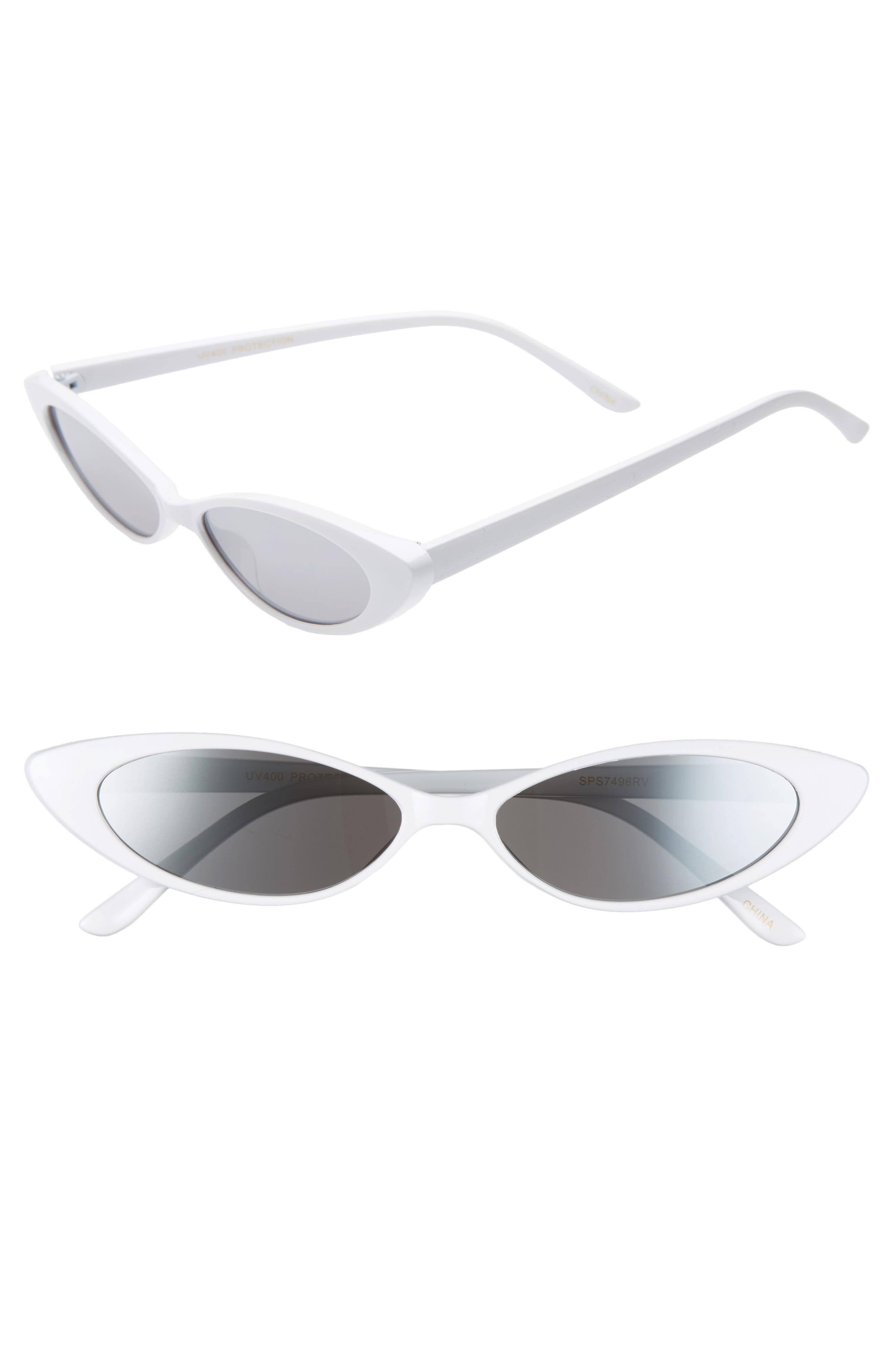 Oval Sunglasses,                             Main thumbnail 1, color,                             WHITE/ SILVER