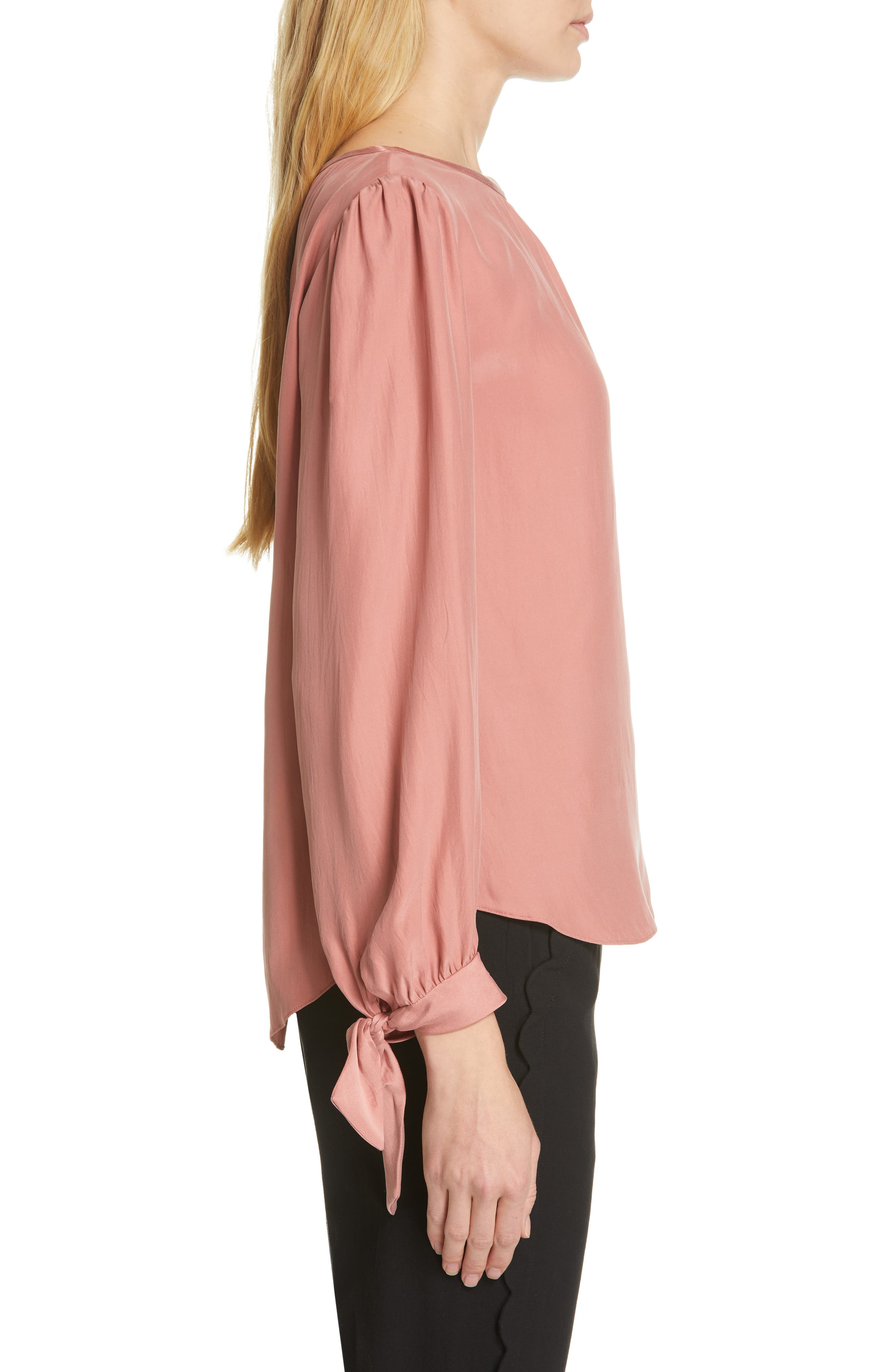 TAILORED BY REBECCA TAYLOR,                             Sleeve Tie Silk Charmeuse Top,                             Alternate thumbnail 3, color,                             LIPGLOSS