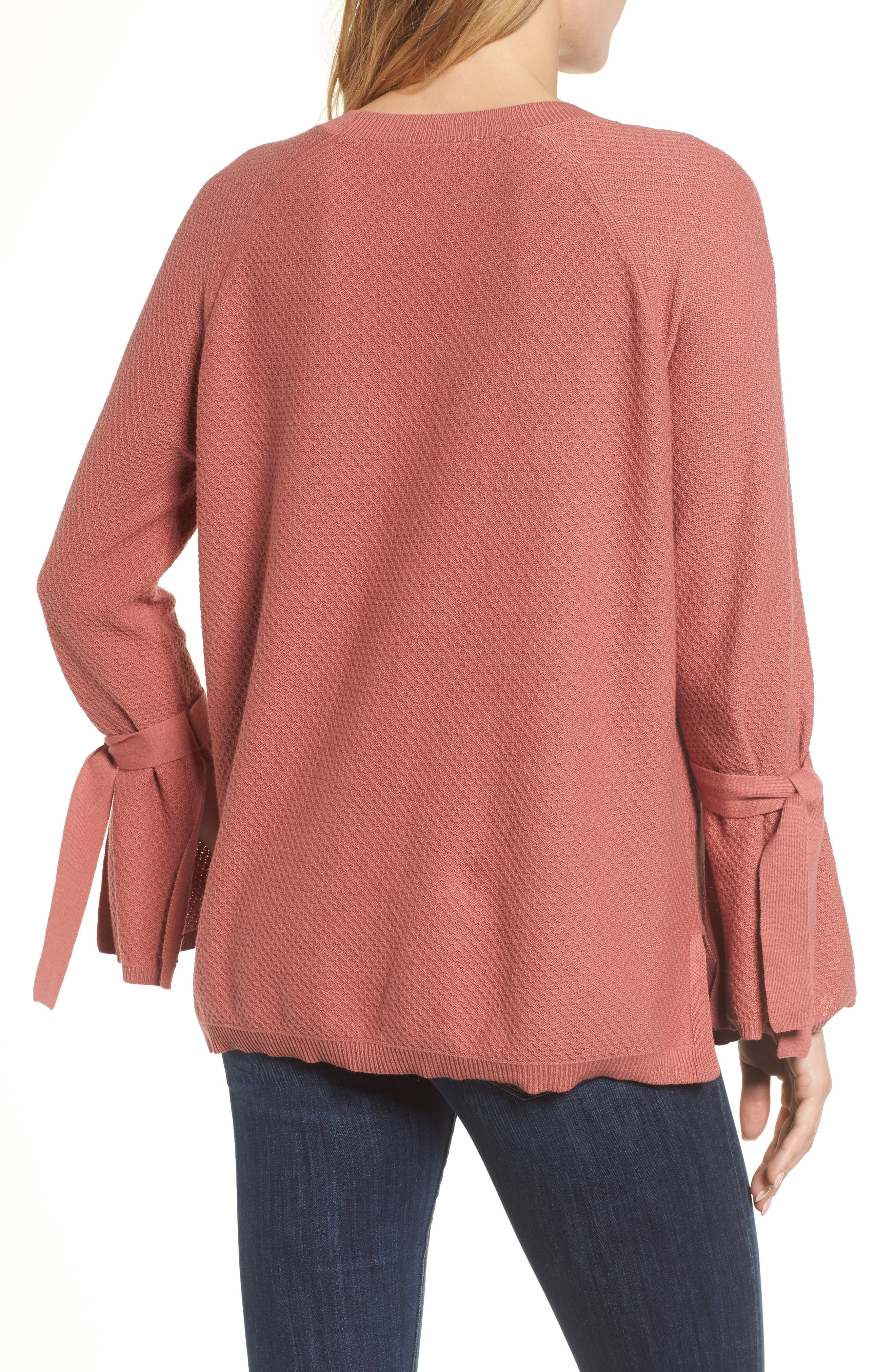 Texture Stitch Tie-Sleeve Top,                             Alternate thumbnail 8, color,