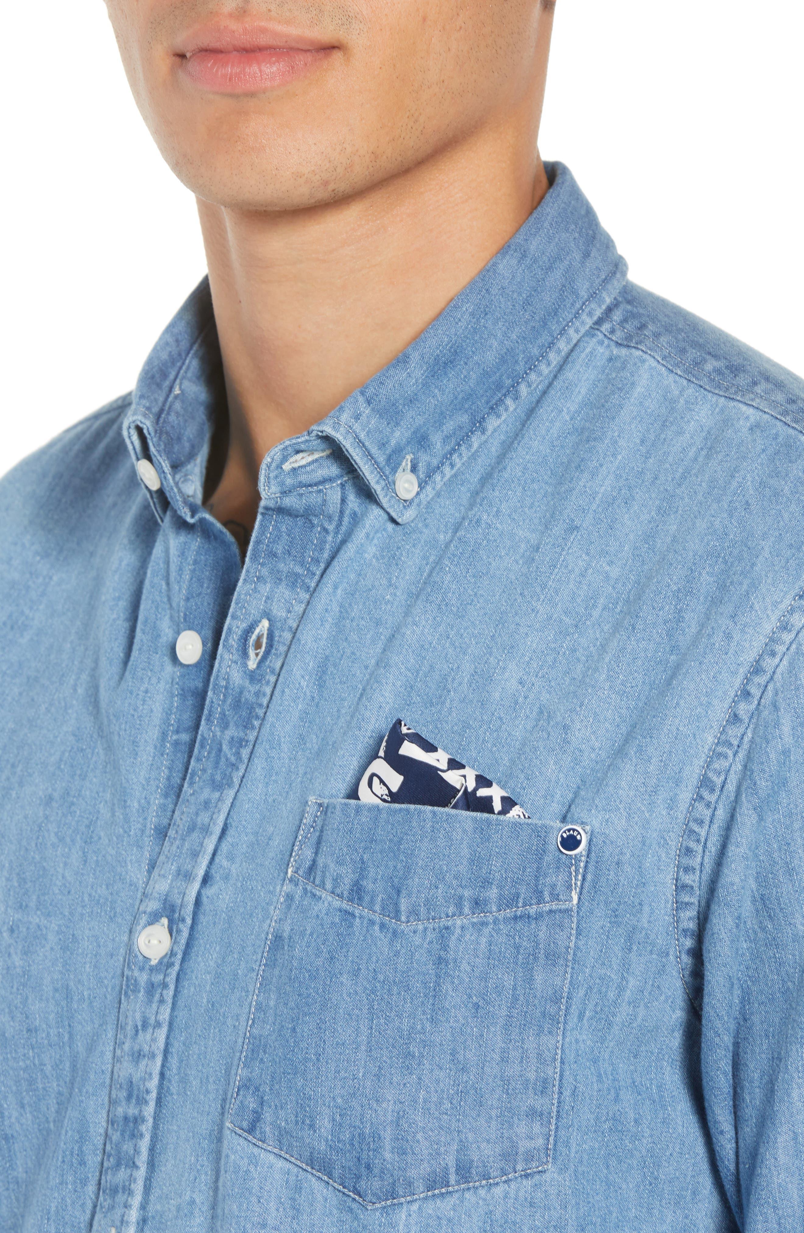 Amsterdams Blauw Pocket Square Chambray Sport Shirt,                             Alternate thumbnail 4, color,                             DENIM BLUE