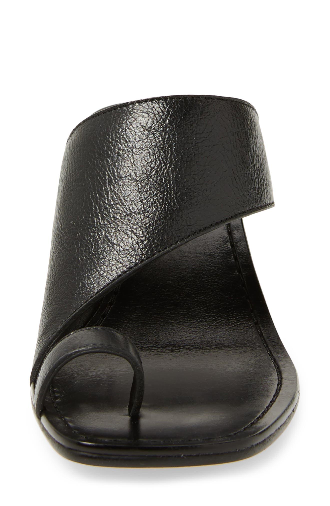 Block Heel Toe Loop Sandal,                             Alternate thumbnail 4, color,                             001