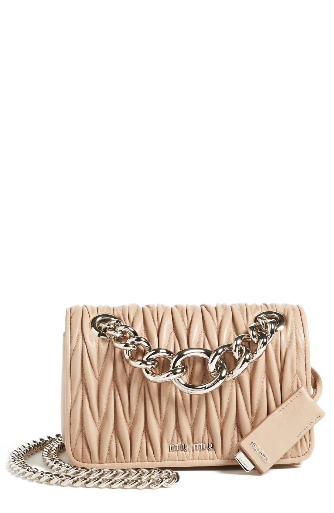 Small Matelassé Leather Shoulder Bag,                             Main thumbnail 3, color,