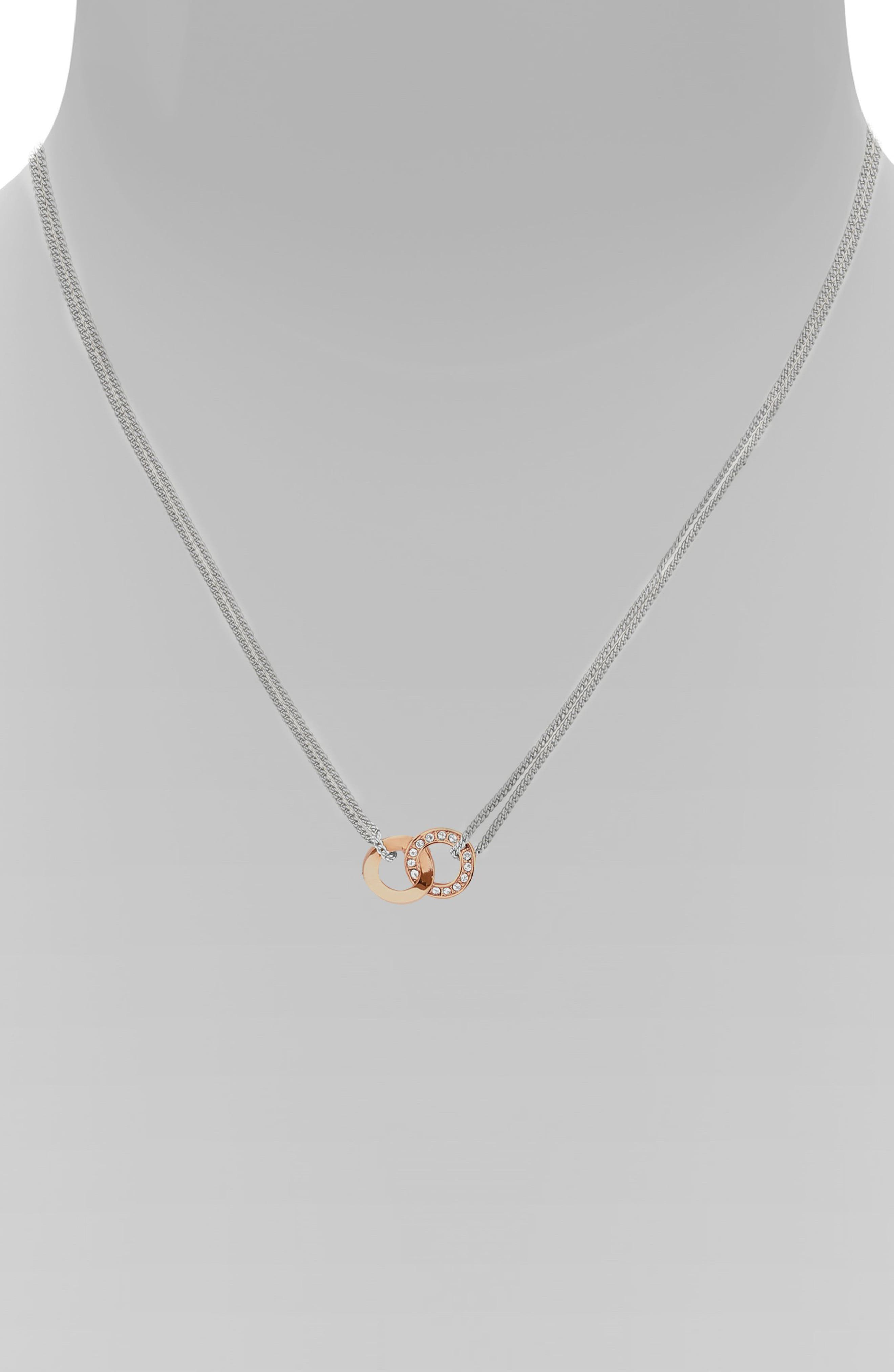 Interlocking Ring Dual Strand Necklace,                             Alternate thumbnail 2, color,                             SILVER/ ROSE GOLD