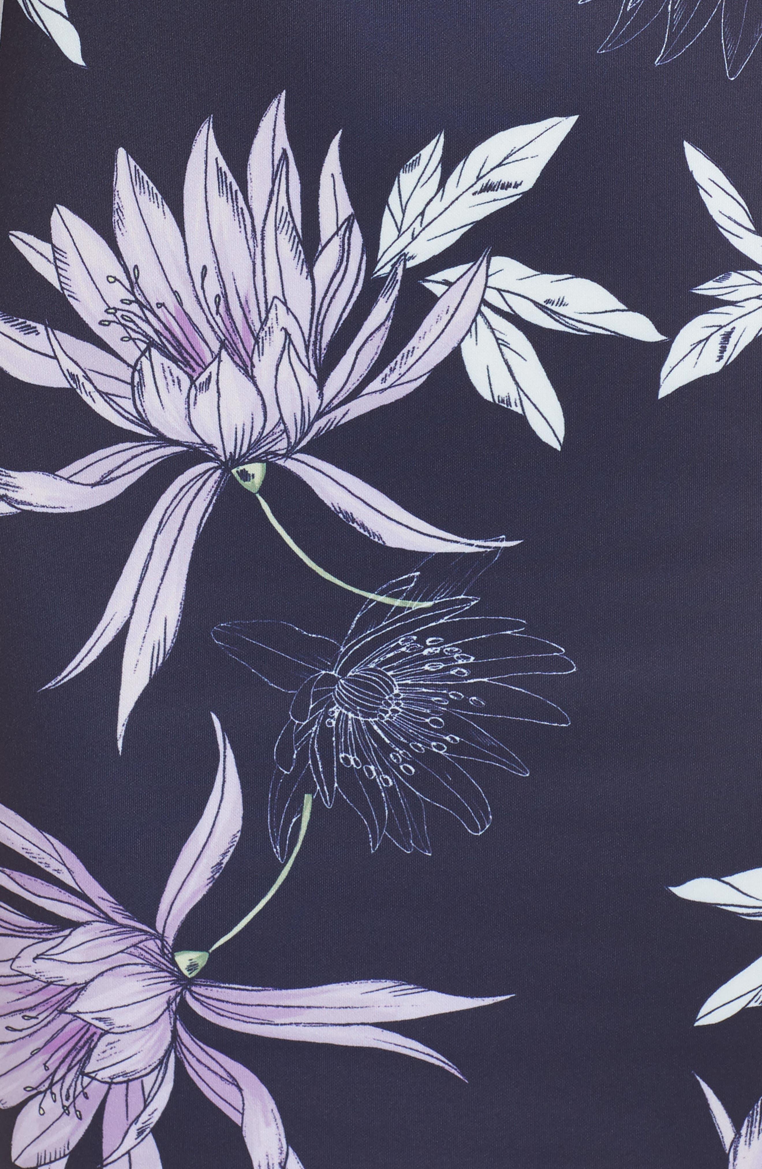 VINCE CAMUTO,                             Floral Print Asymmetrical Hem Dress,                             Alternate thumbnail 6, color,                             NAVY/ MULTI