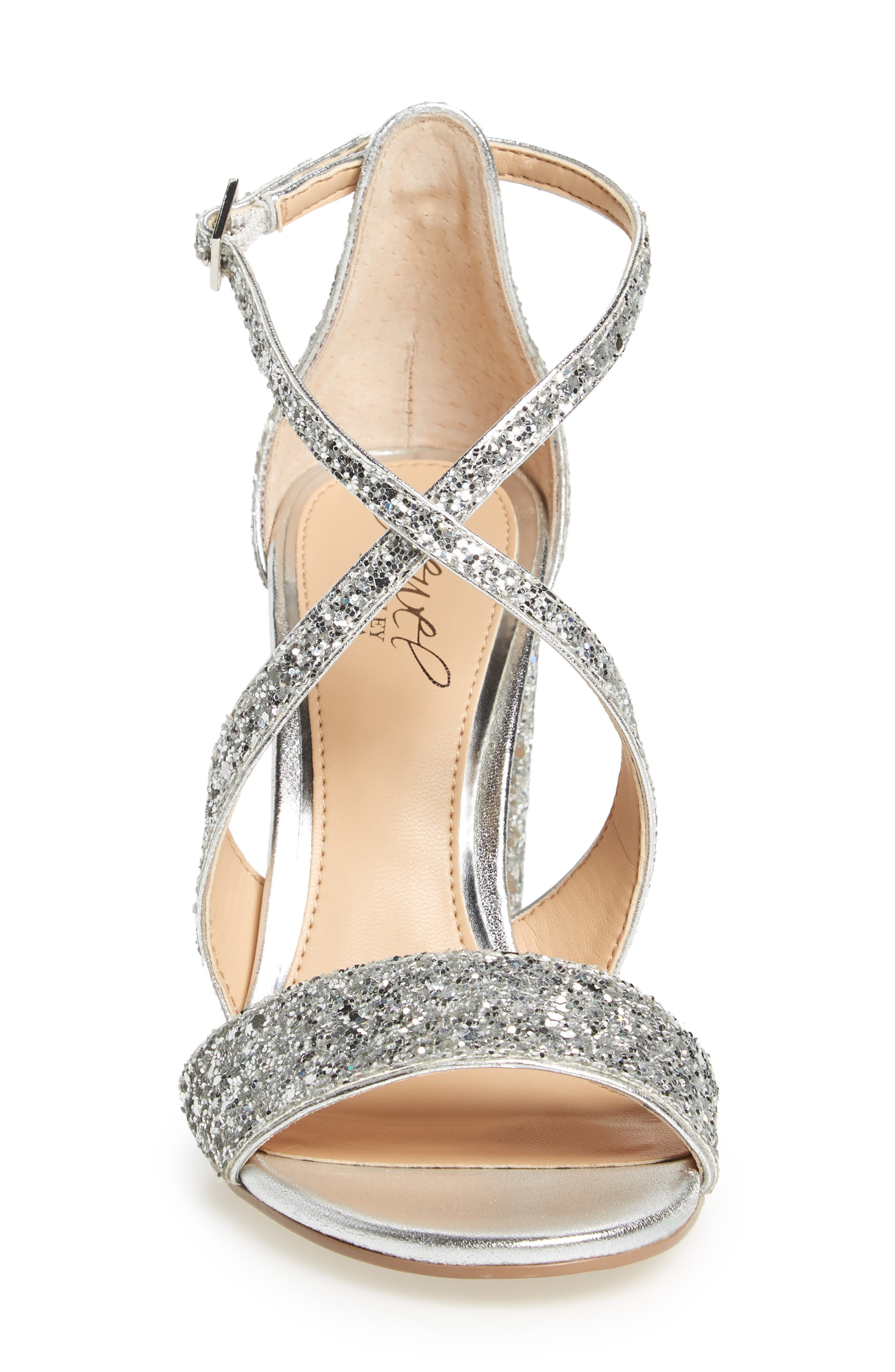 Cook Block Heel Glitter Sandal,                             Alternate thumbnail 3, color,                             SILVER LEATHER