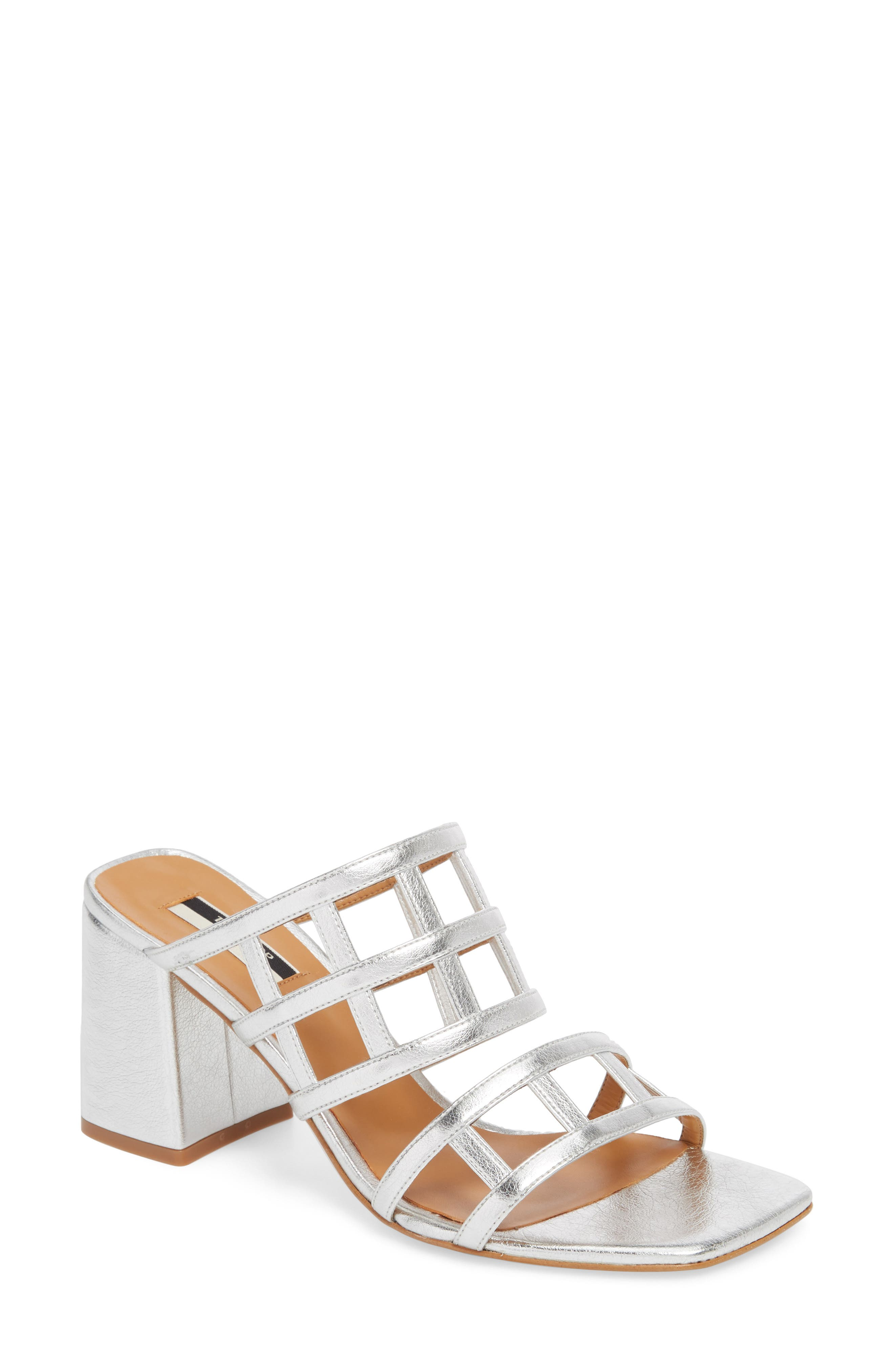 Eid Night Caged Slide Sandal,                             Main thumbnail 1, color,                             SILVER