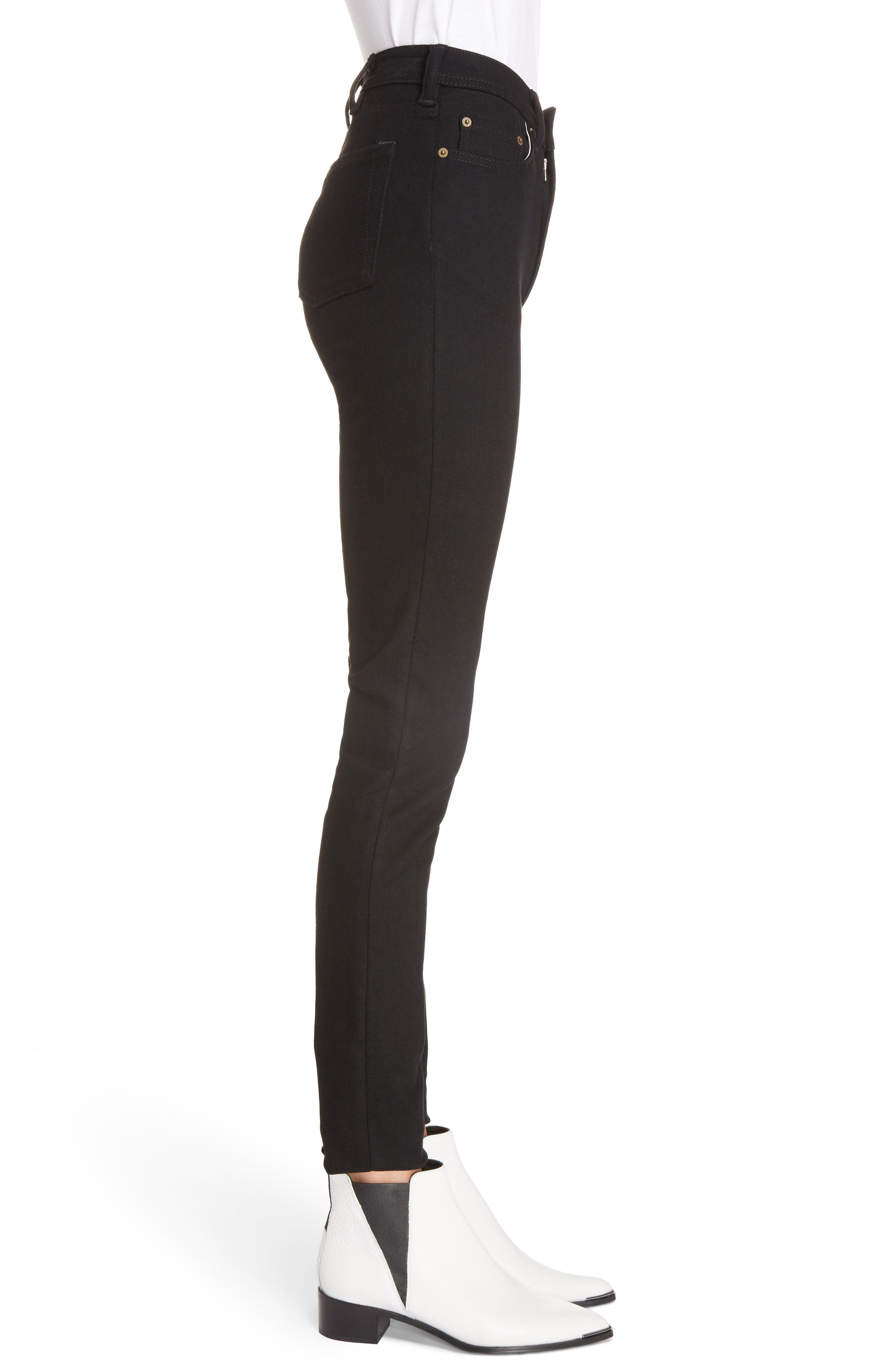 Peg High Waist Skinny Jeans,                             Alternate thumbnail 3, color,                             BLACK